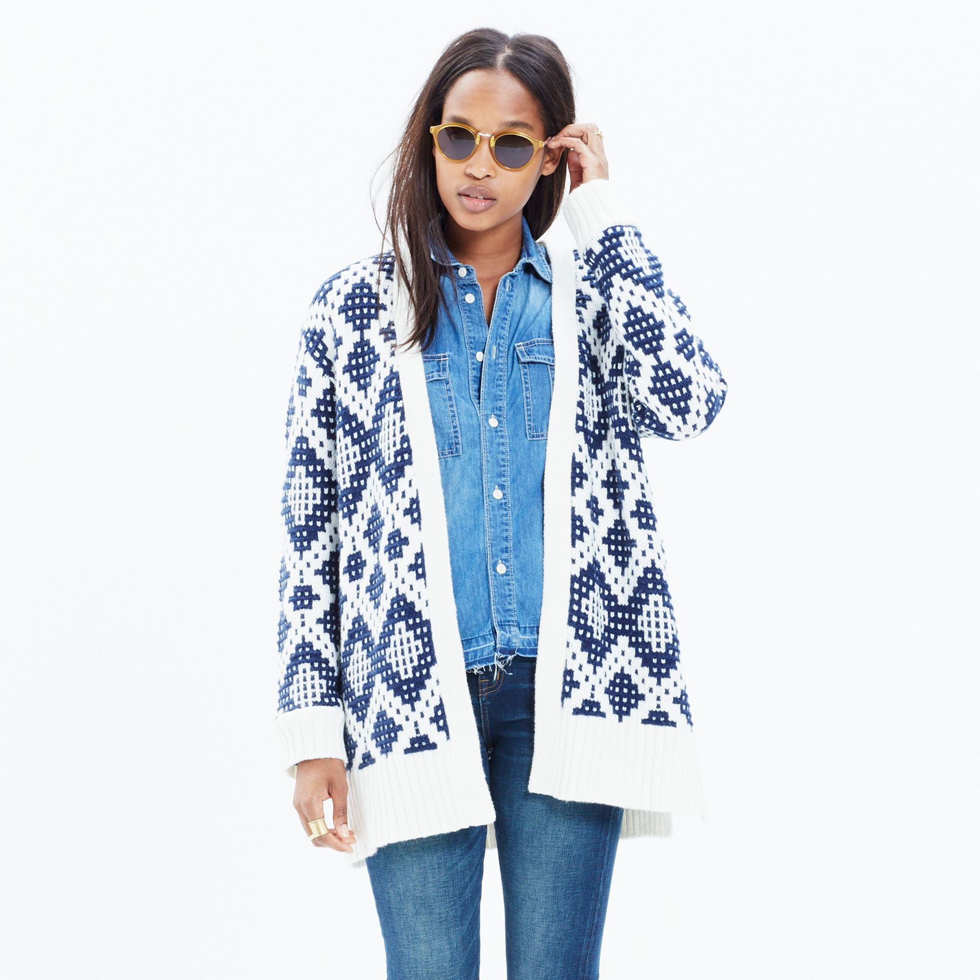 Madewell Contrast Fair Isle Cardigan Sweater in Blue | Lyst