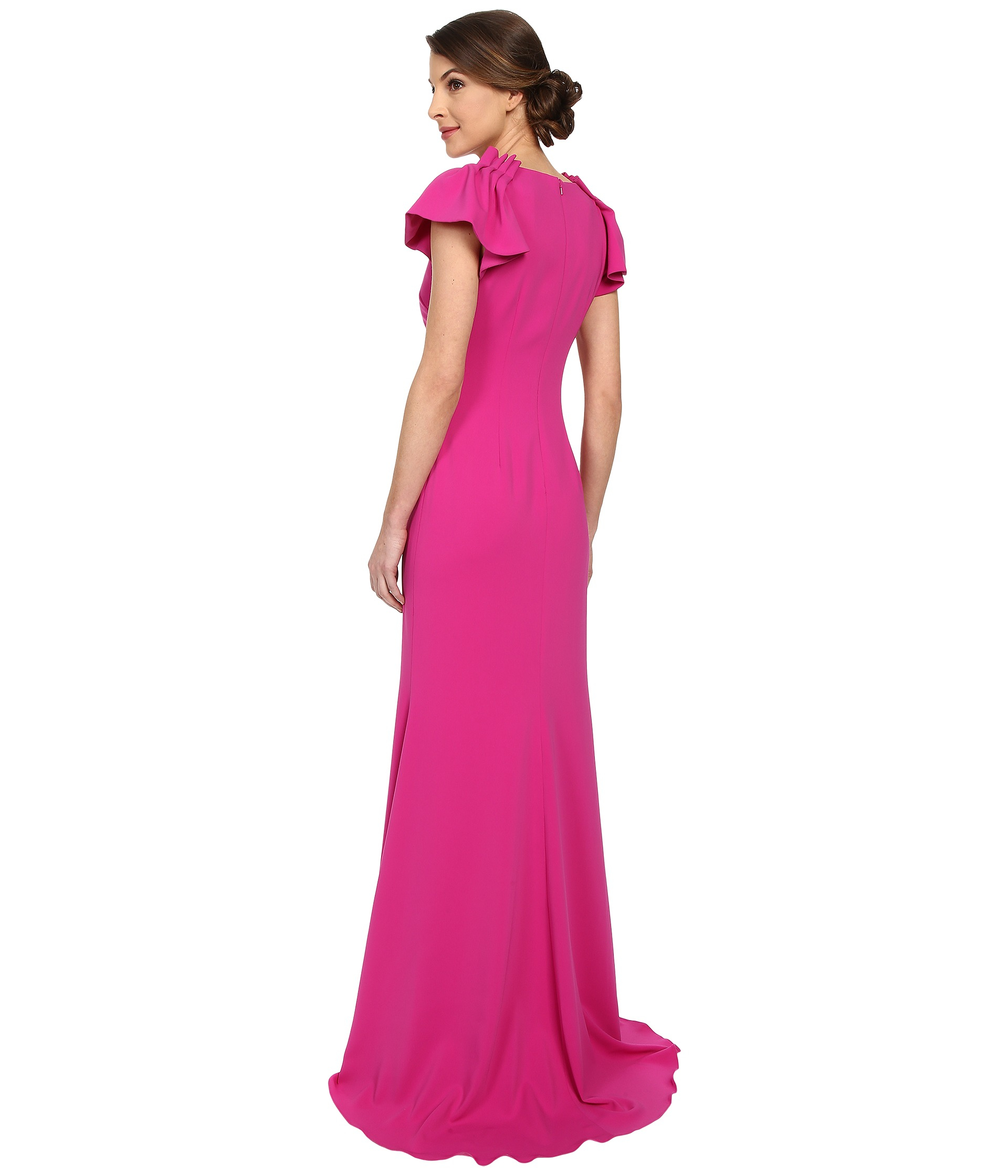 Lyst - Badgley Mischka Ruffle Sleeve V-neck Gown in Purple