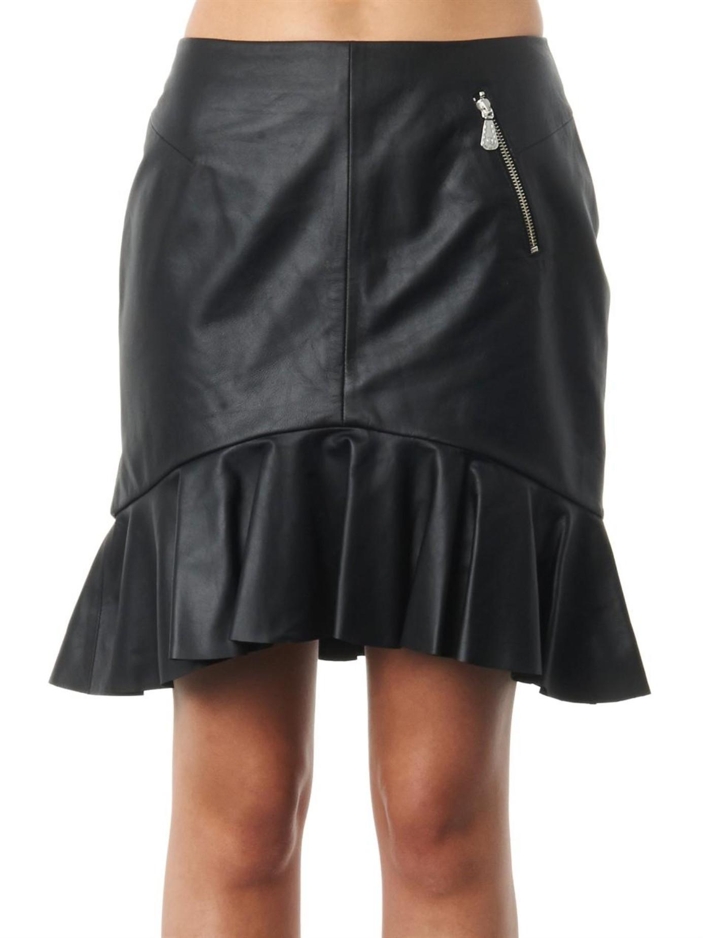f0a95529b0 McQ Frill-hem Leather Skirt in Black - Lyst