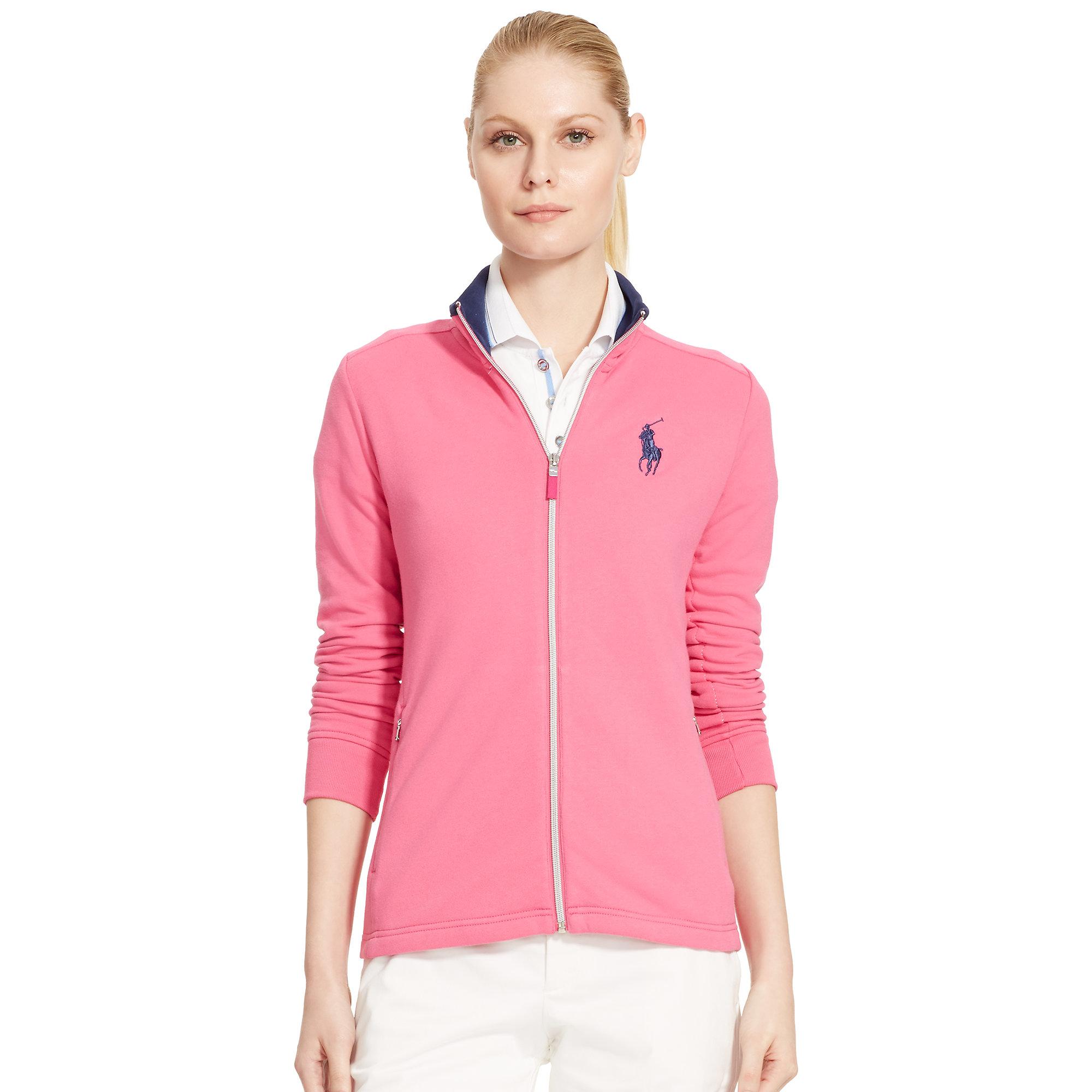 Ralph lauren golf Fleece Full-zip Jacket in Pink | Lyst