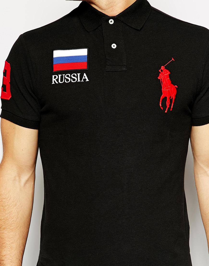 polo ralph lauren polo with russia flag in black for men. Black Bedroom Furniture Sets. Home Design Ideas