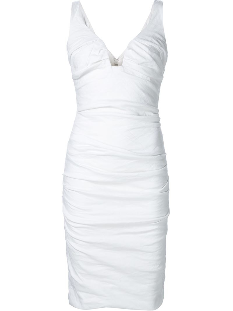 Long white ruched dress