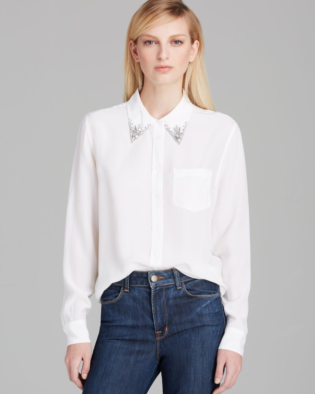 Equipment Blouse Reese Jewel Collar Silk In White Lyst