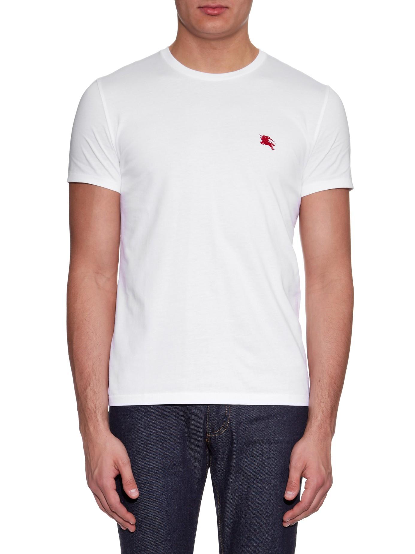 Burberry brit tunworth cotton t shirt in white for men lyst for T shirt burberry men