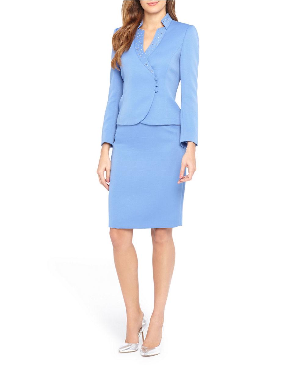 92c72f44e3605 Tahari Petite 2-piece Beaded Skirt Suit Set in Blue - Lyst