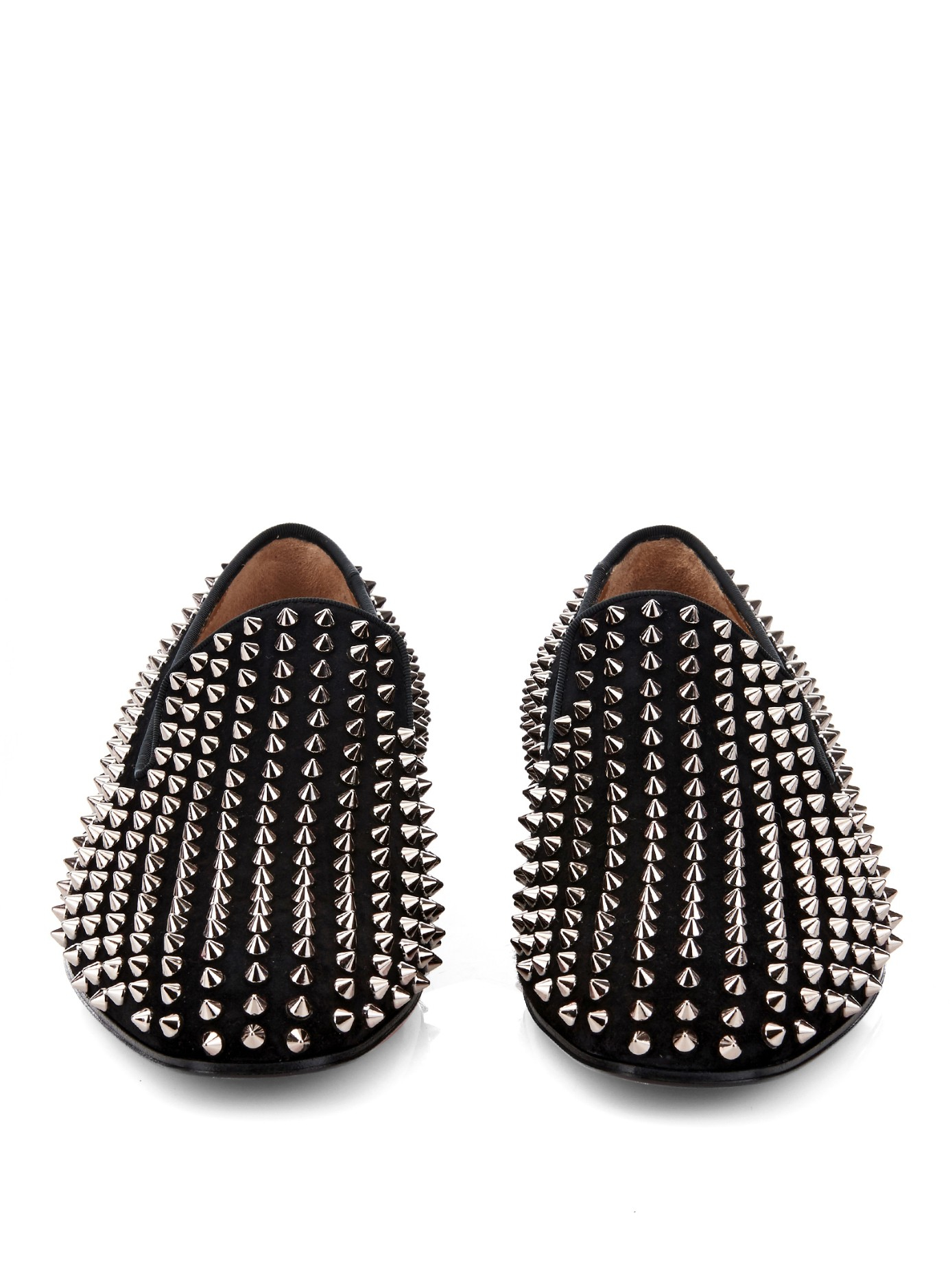 76e189c6a9f Lyst - Christian Louboutin Dandelion Studded Suede Loafers in Black ...