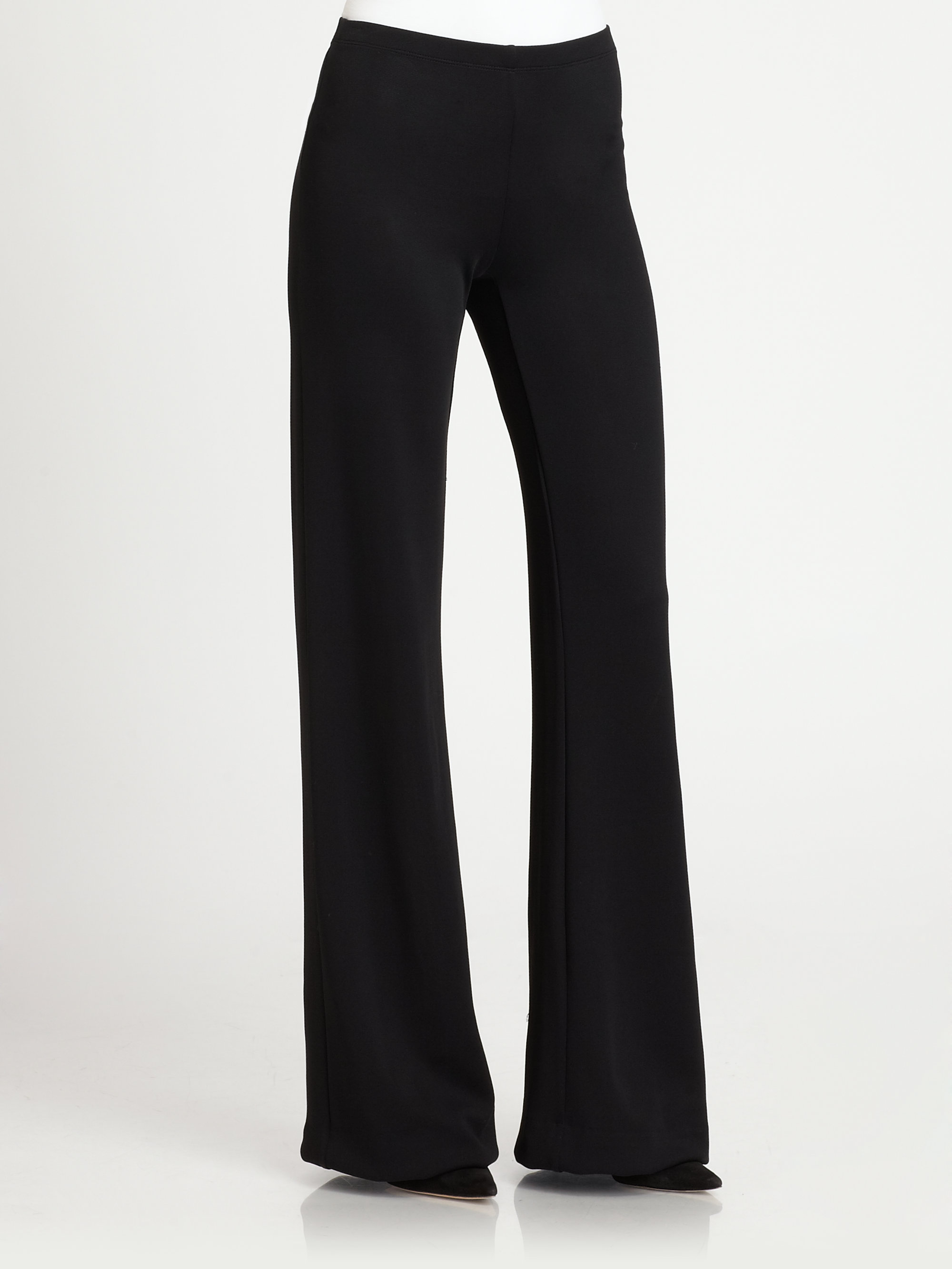 Donna karan Stretch Jersey Wide-leg Pants in Black | Lyst