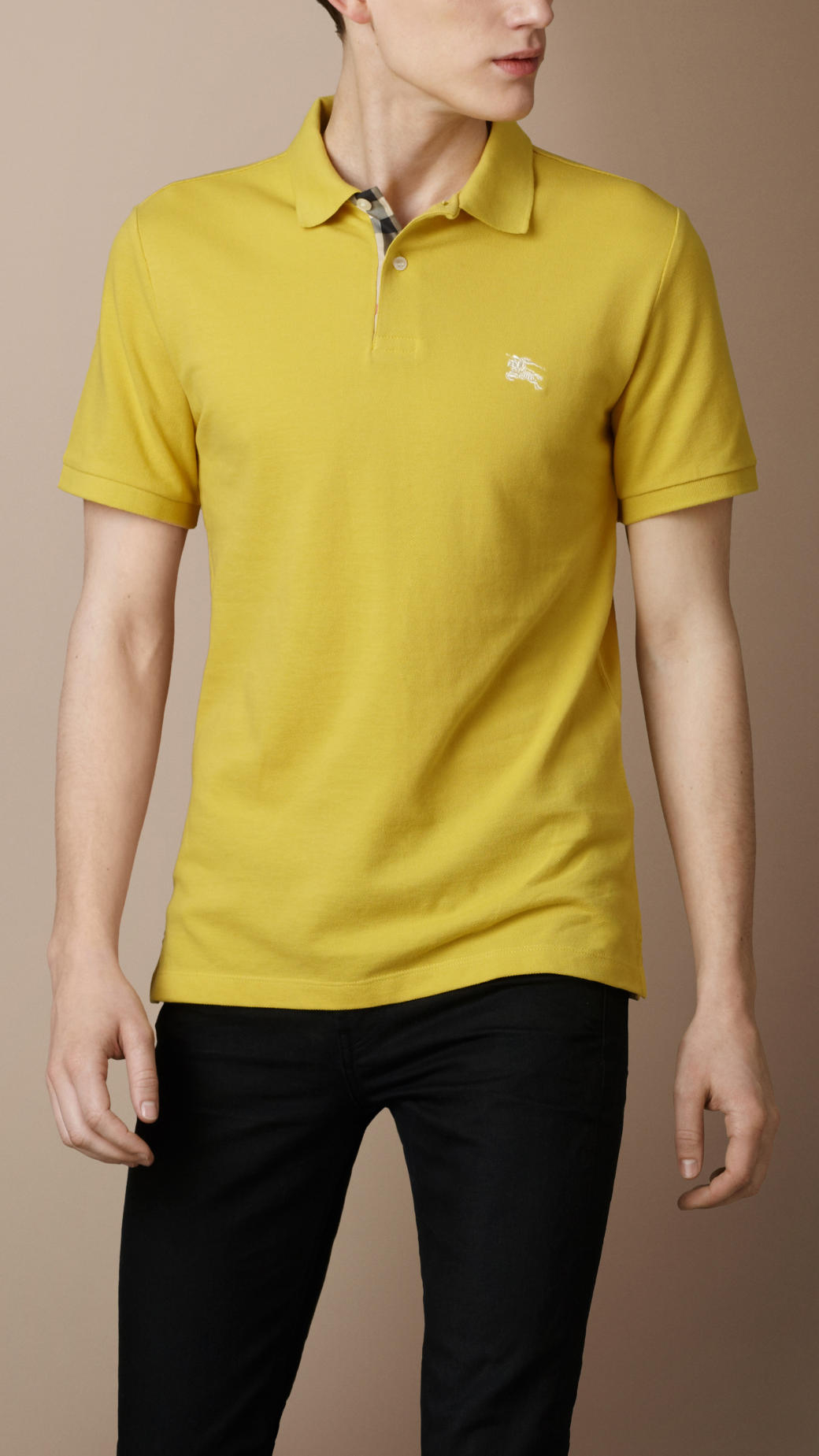 Lyst Burberry Check Placket Polo Shirt In Yellow For Men