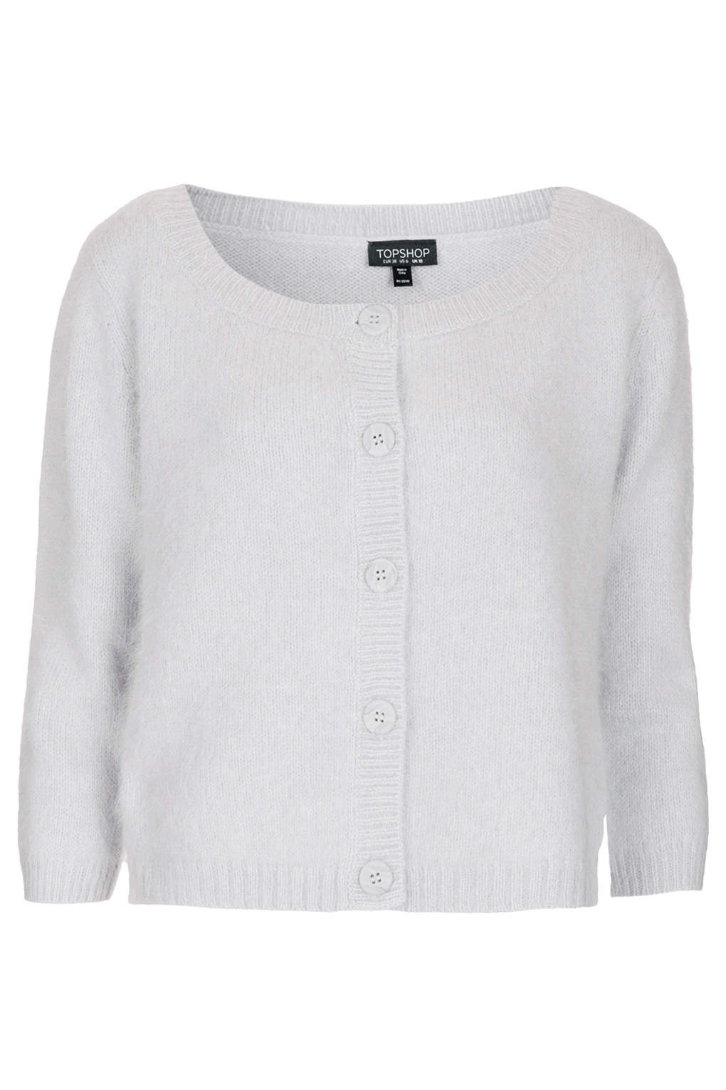 Topshop Knitted Fluffy Cardigan in Gray | Lyst