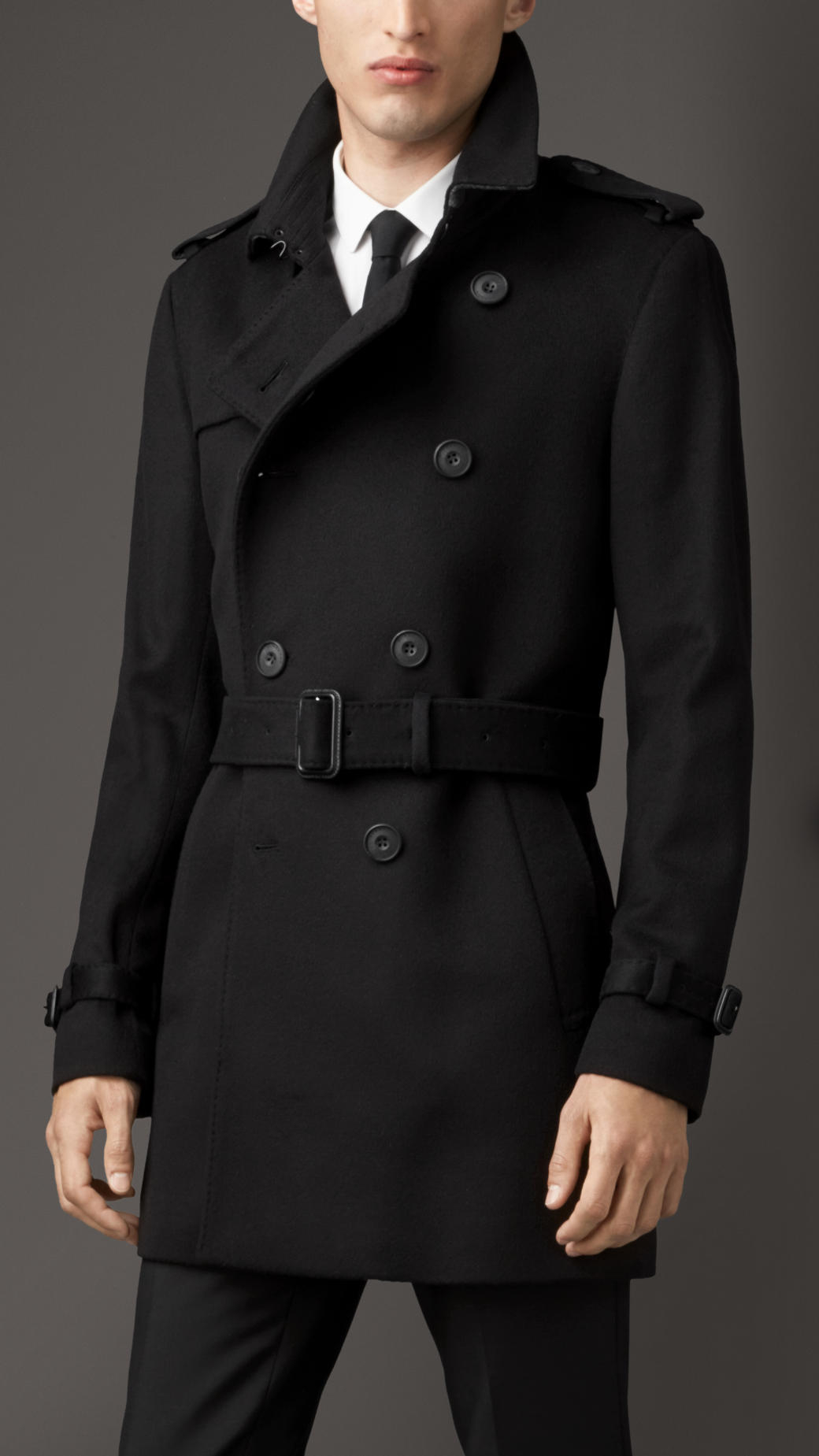 Burberry Mid Length Virgin Wool Cashmere Trench Coat In