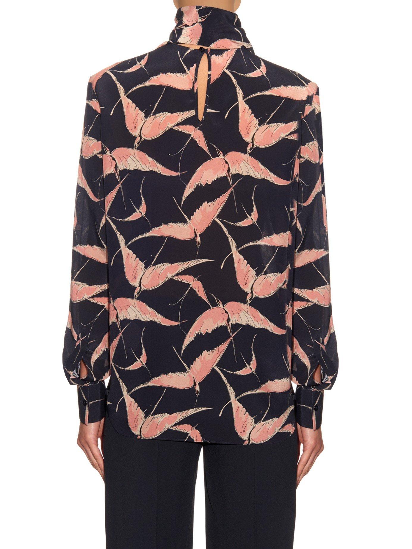 Bird Print Silk Blouse 69