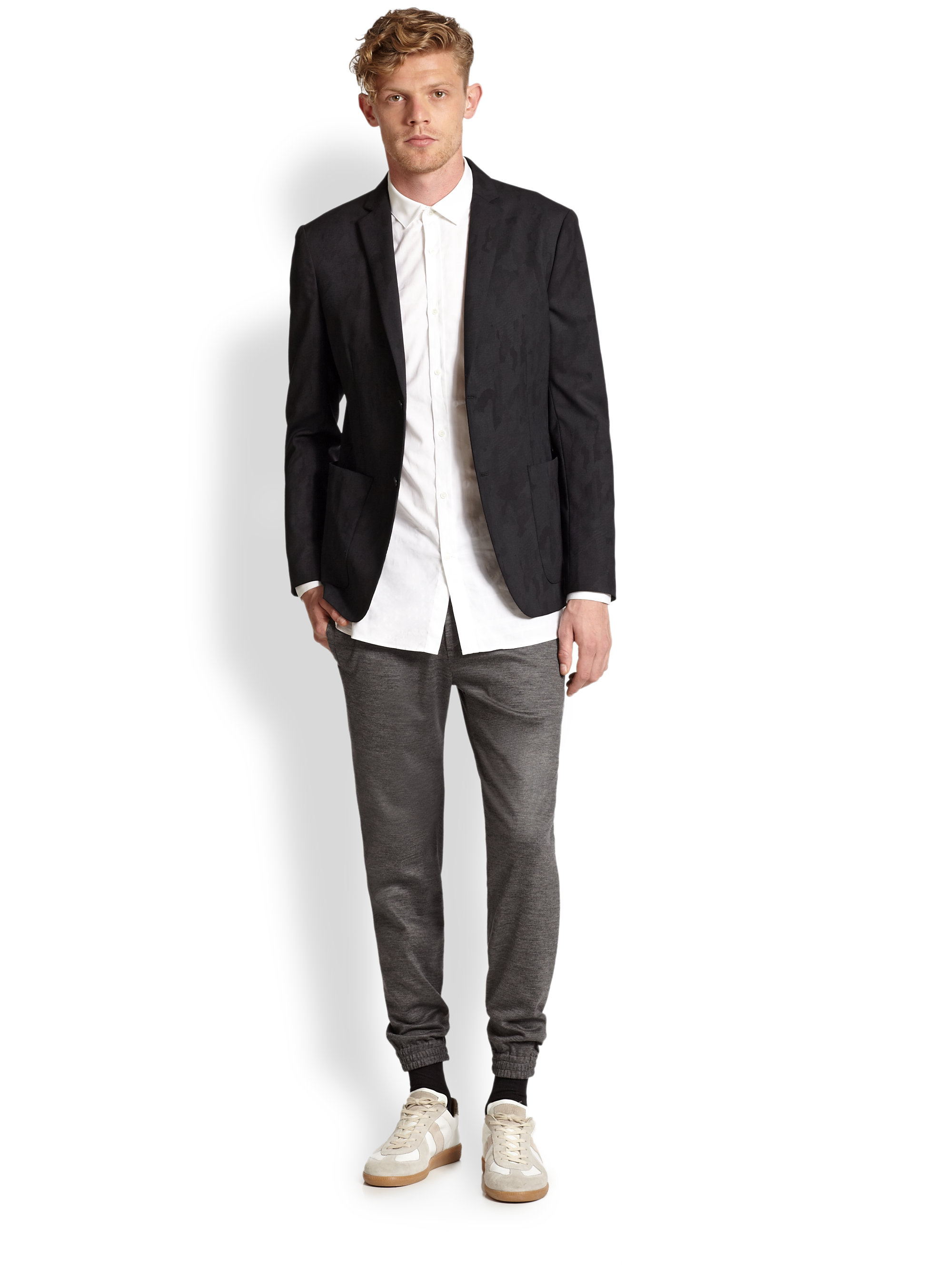 Theory Wool Blend Camo Blazer In Green For Men Lyst