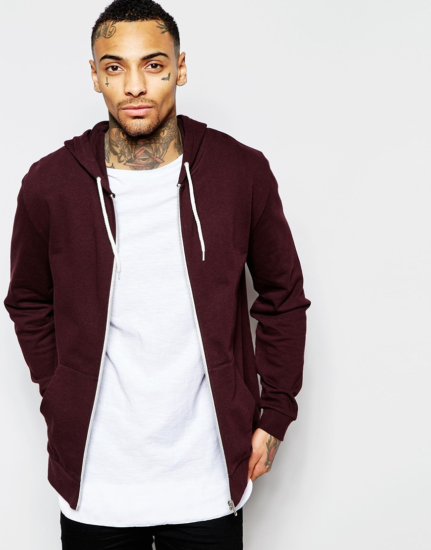 Asos Zip Up Hoodie In Burgundy in Purple for Men | Lyst
