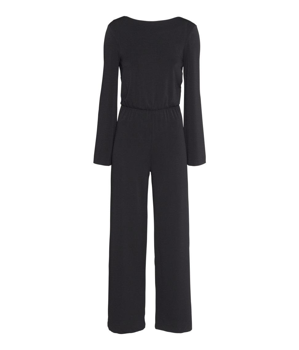 h m wide jumpsuit in black lyst. Black Bedroom Furniture Sets. Home Design Ideas