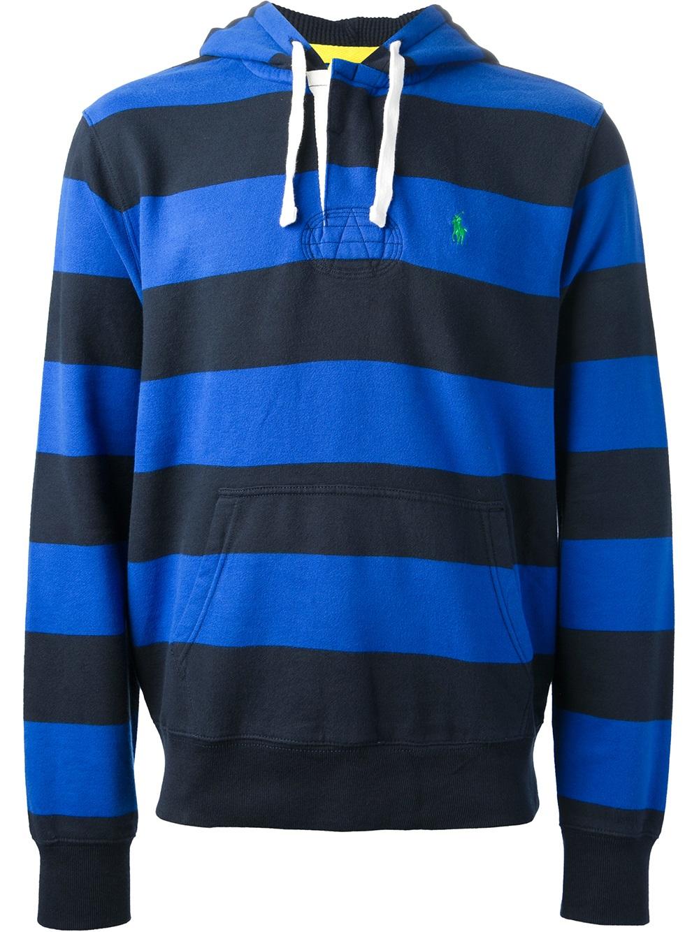 Polo Ralph Lauren Striped Hoodie In Blue For Men Lyst