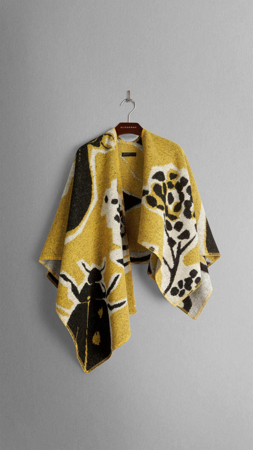 Book Cover Pattern Wool Cashmere Poncho : Burberry brit insects of britain wool cashmere poncho in