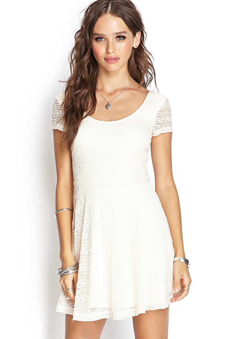 forever 21 lace skater dress in white cream lyst
