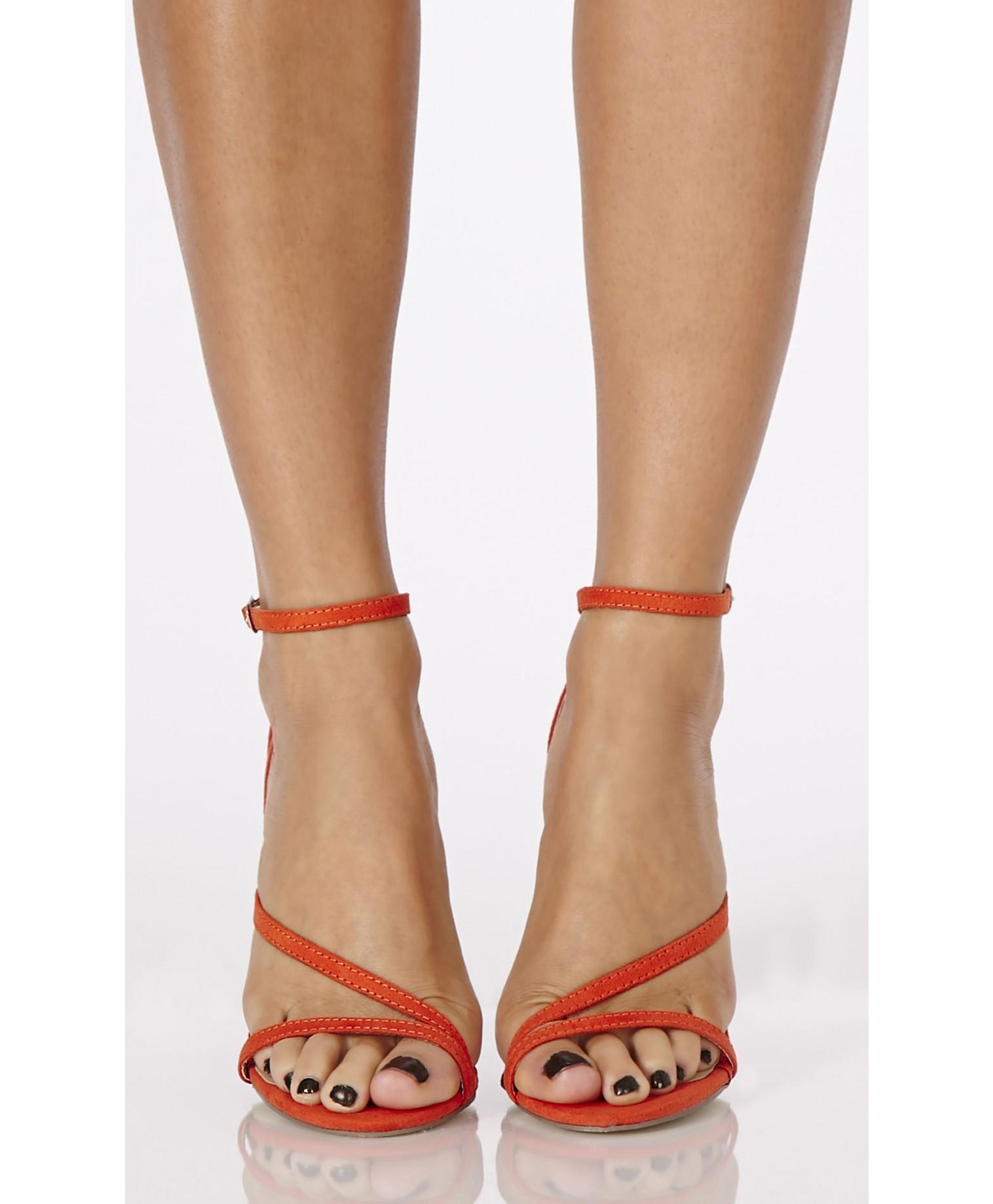 Missguided Nana Faux Suede Strappy Heels in Orange in Orange  Lyst