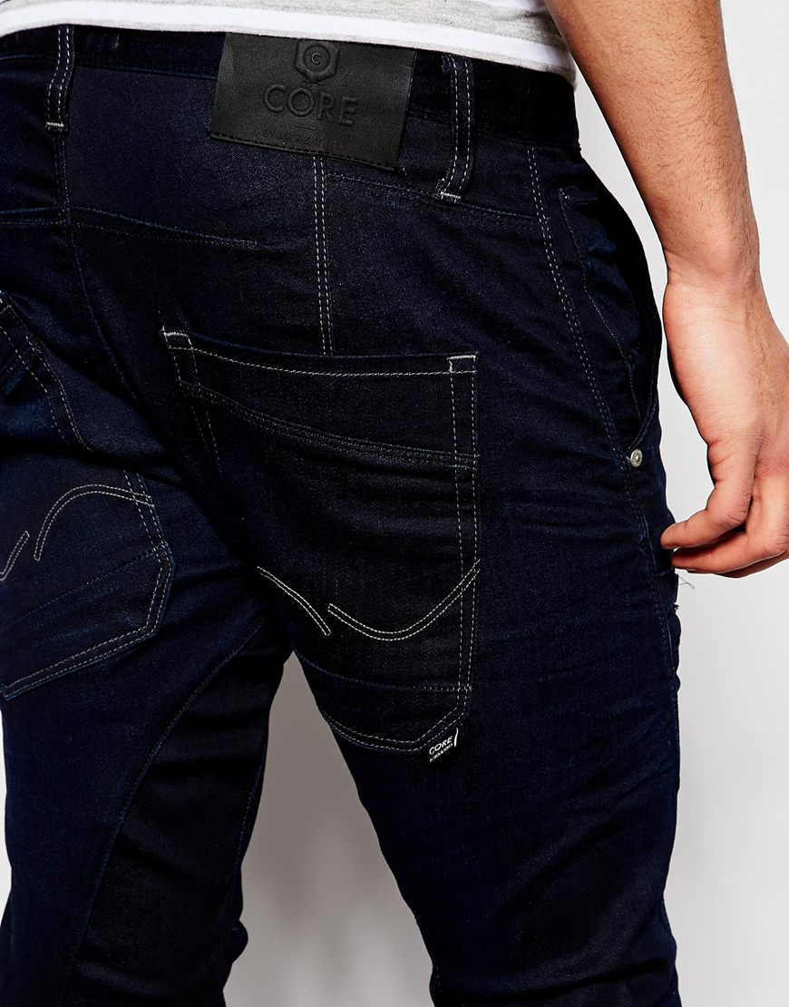 jack jones anti fit jeans with twisted seam in blue for. Black Bedroom Furniture Sets. Home Design Ideas