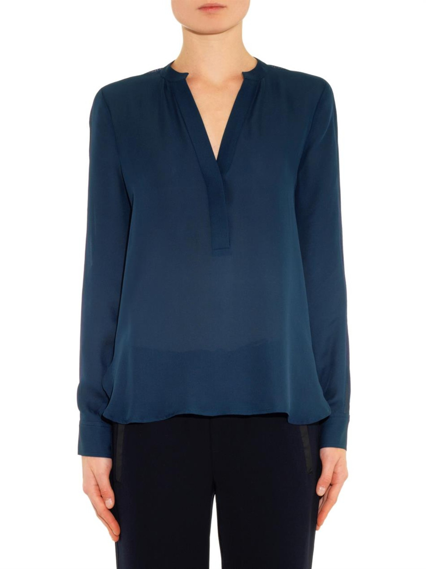 0ca072a5ac514e Lyst - Vince V-Neck Silk Blouse in Blue