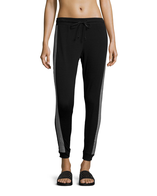 Pink lotus Metallic Double-stripe Jogger Pants in Black | Lyst