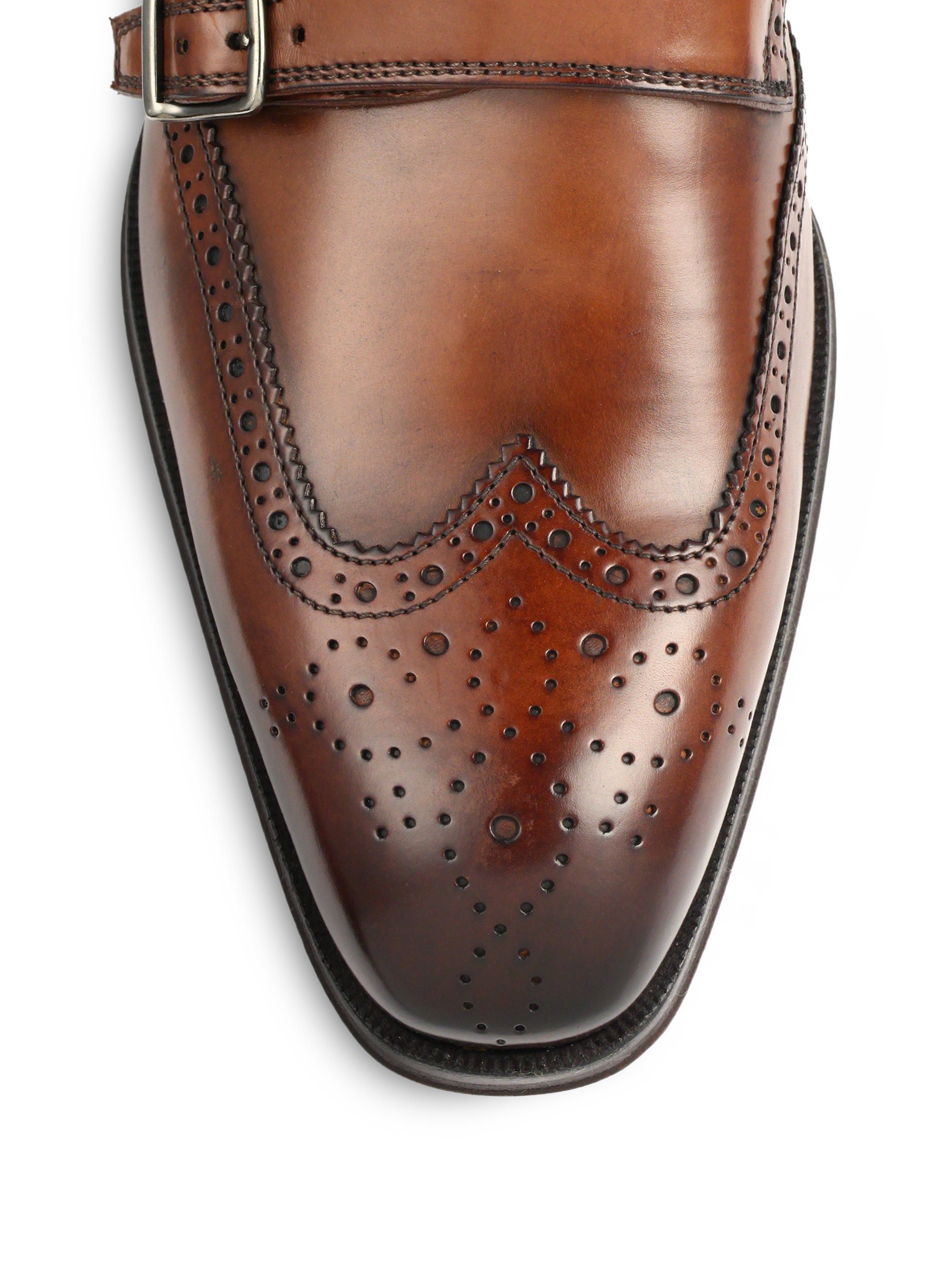 Mens Brown Leather Monkstrap Shoes