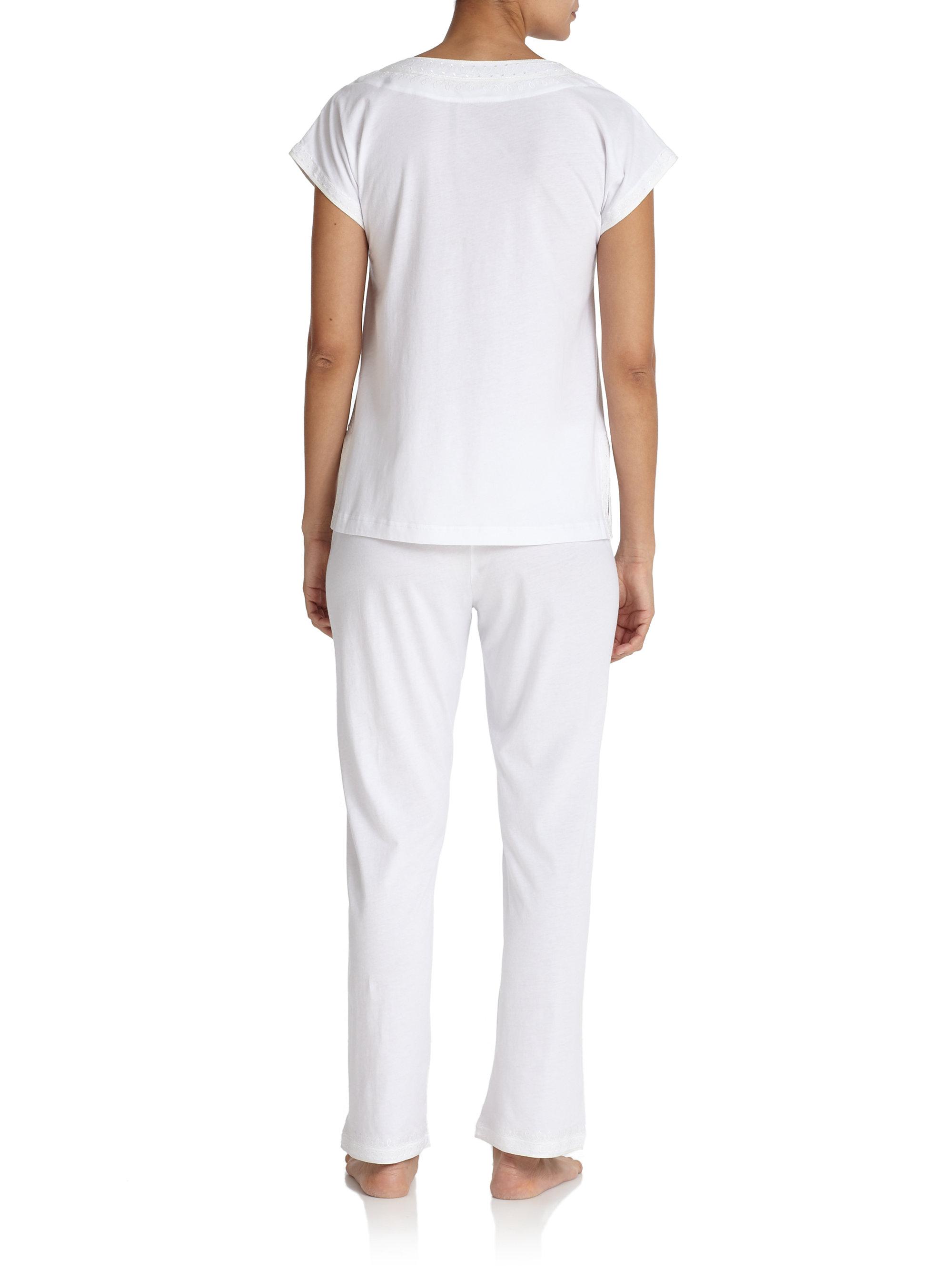 lyst oscar de la renta soft scroll pima cotton pajamas in white. Black Bedroom Furniture Sets. Home Design Ideas