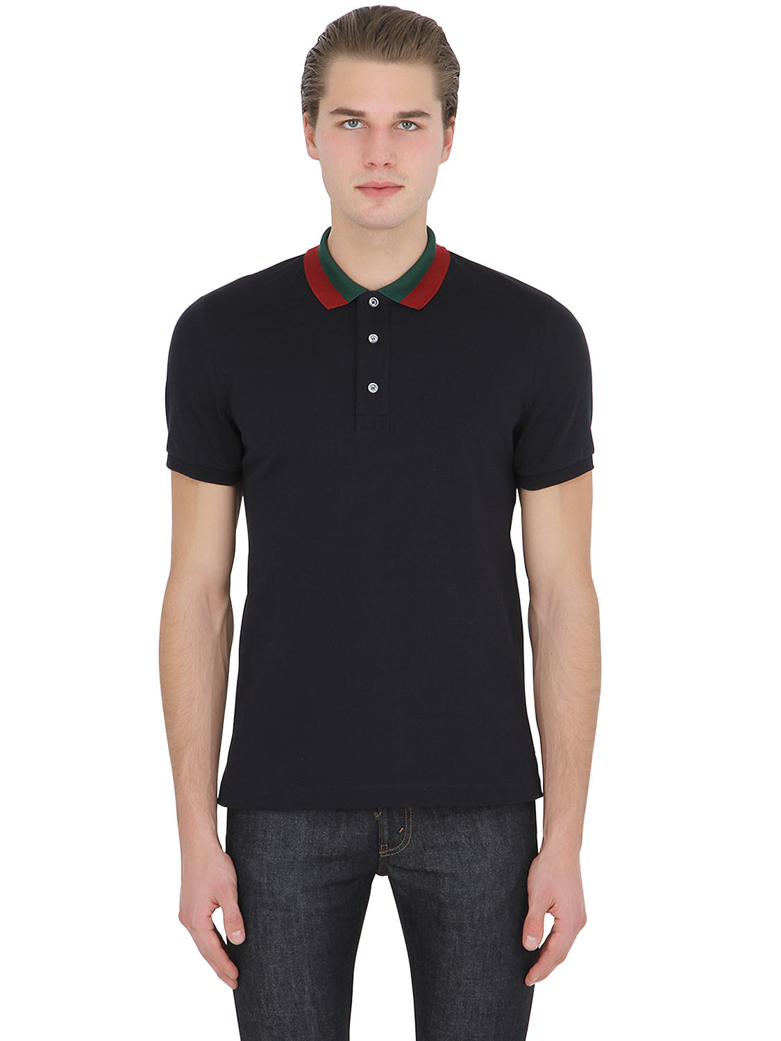 d81b1f2279f4 Gucci Floral Embroidered Piqué Polo in Blue for Men - Lyst