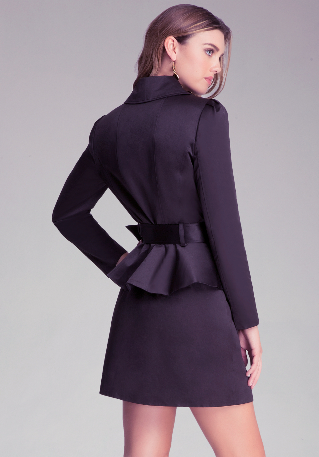 Lyst Bebe Belted Peplum Trench Coat In Black
