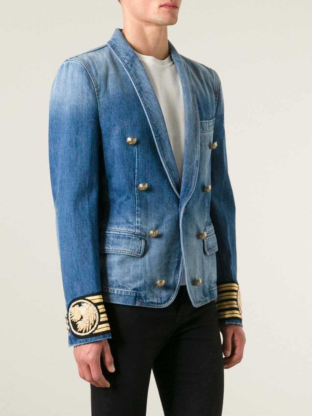 d2d82904 Balmain Denim Blazer in Blue for Men - Lyst