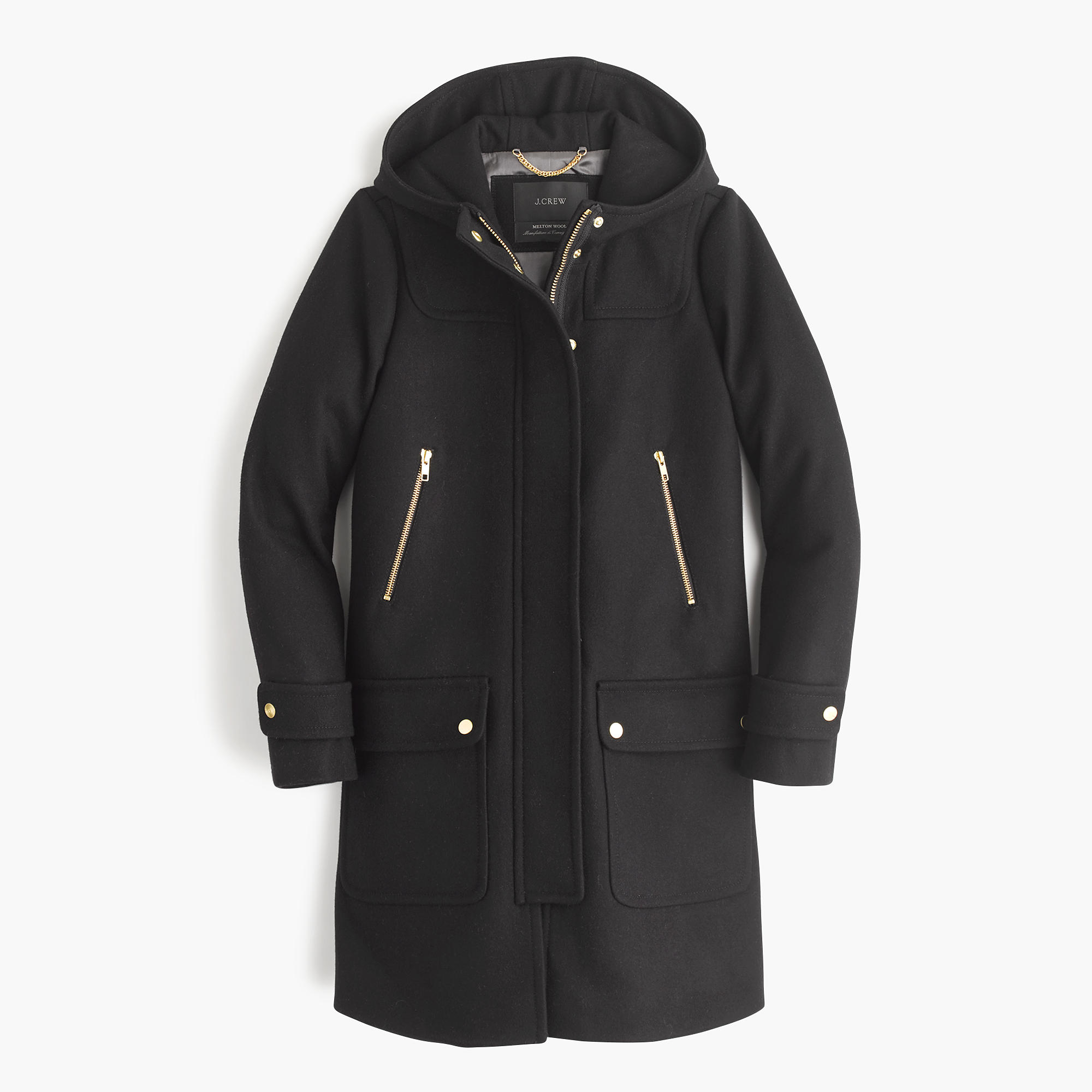 J.crew Petite Wool Melton Duffle Coat in Black | Lyst