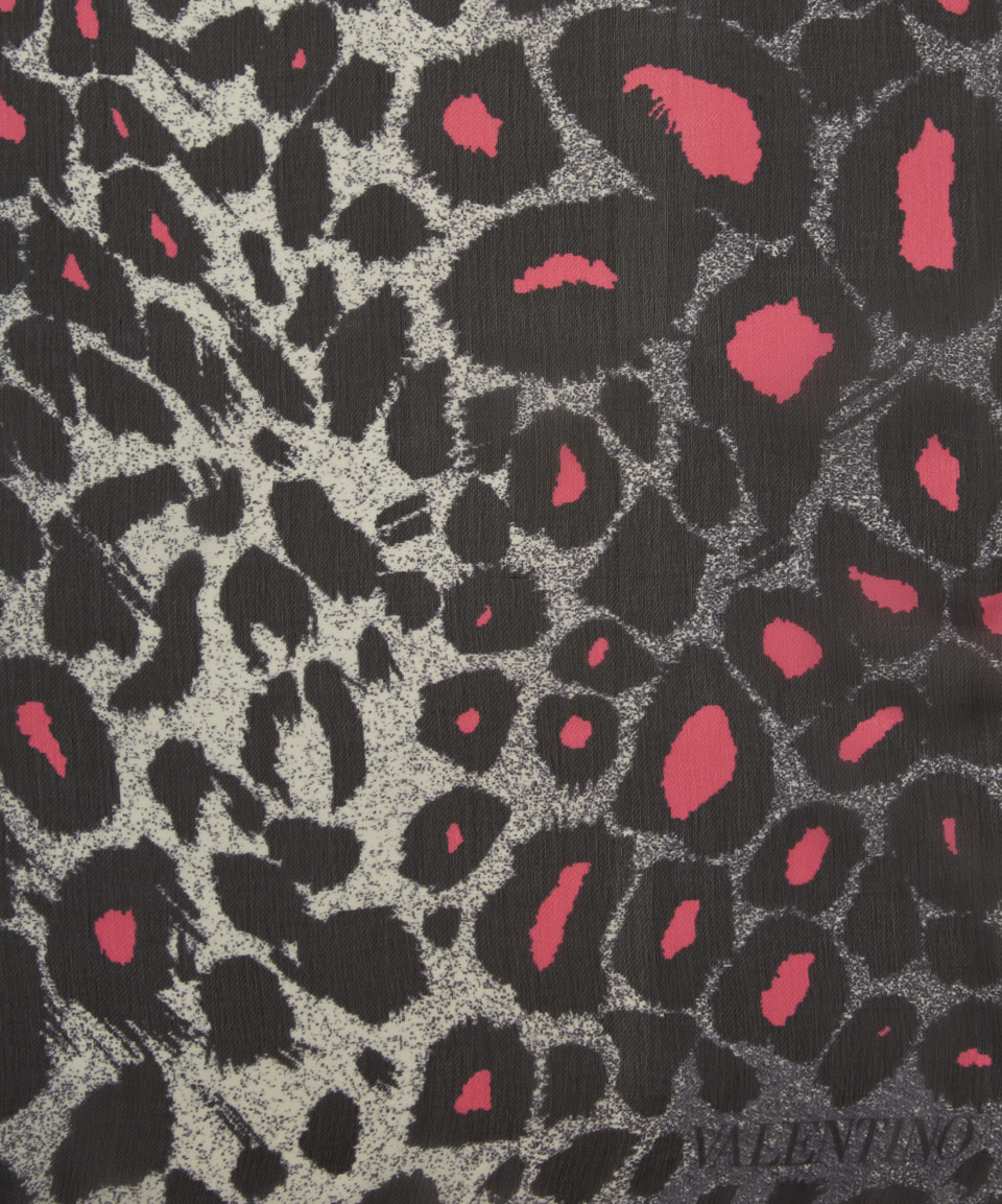 lyst valentino grey and pink leopard print silk scarf in