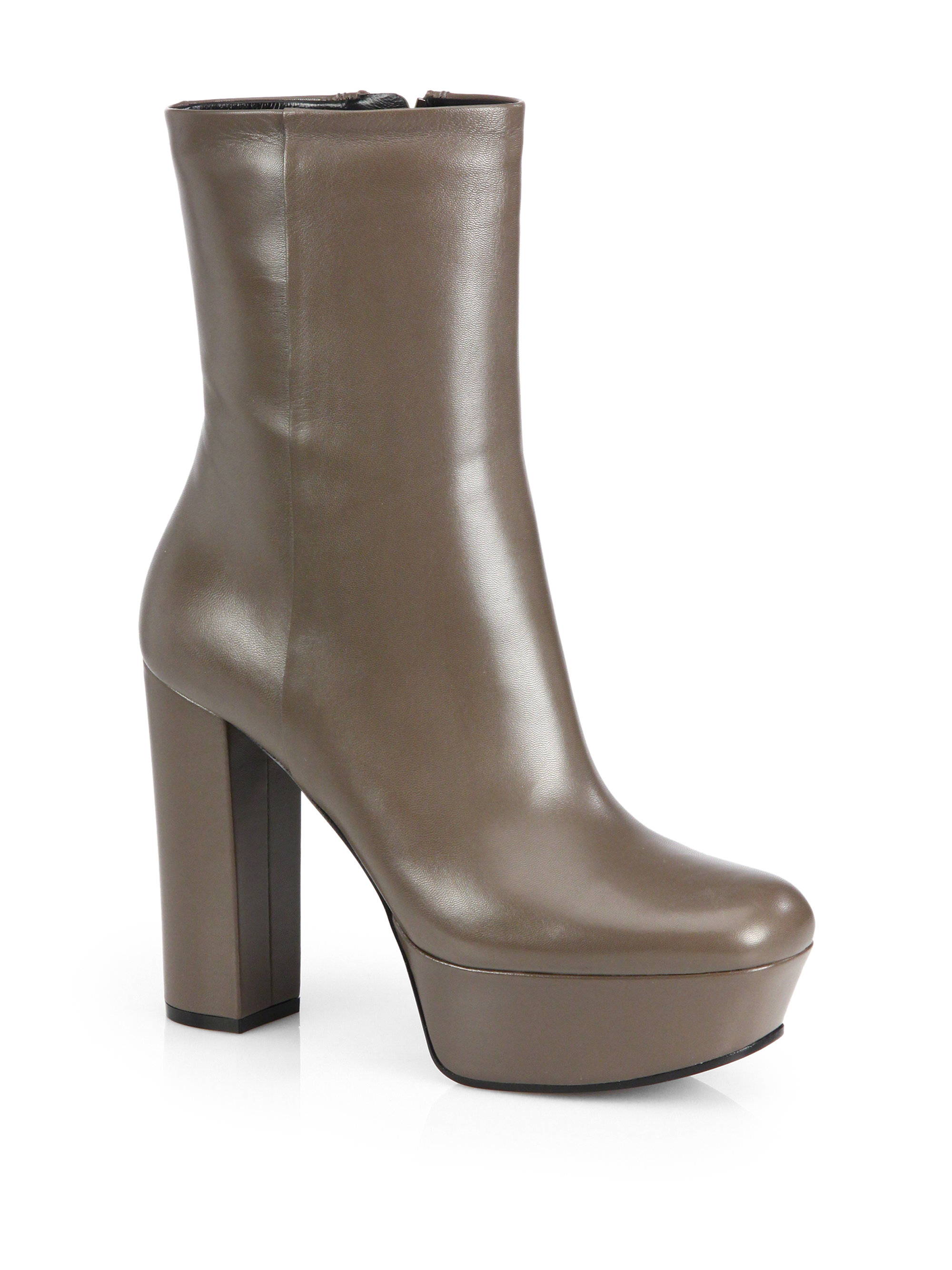 daa522470d2e Lyst - Gucci Leather Platform Ankle Boots in Gray