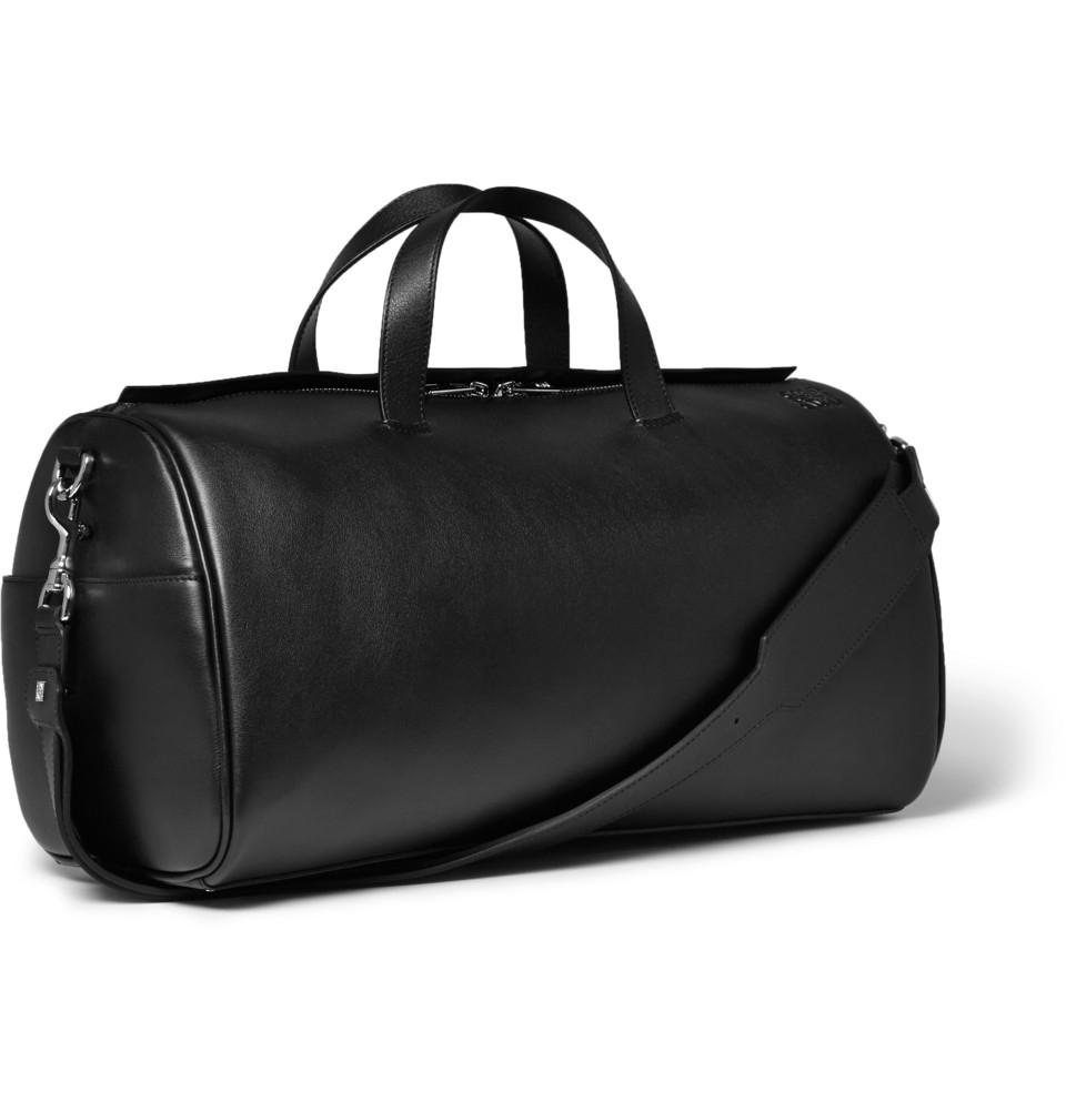 Mens Large Black Leather Duffle Bag