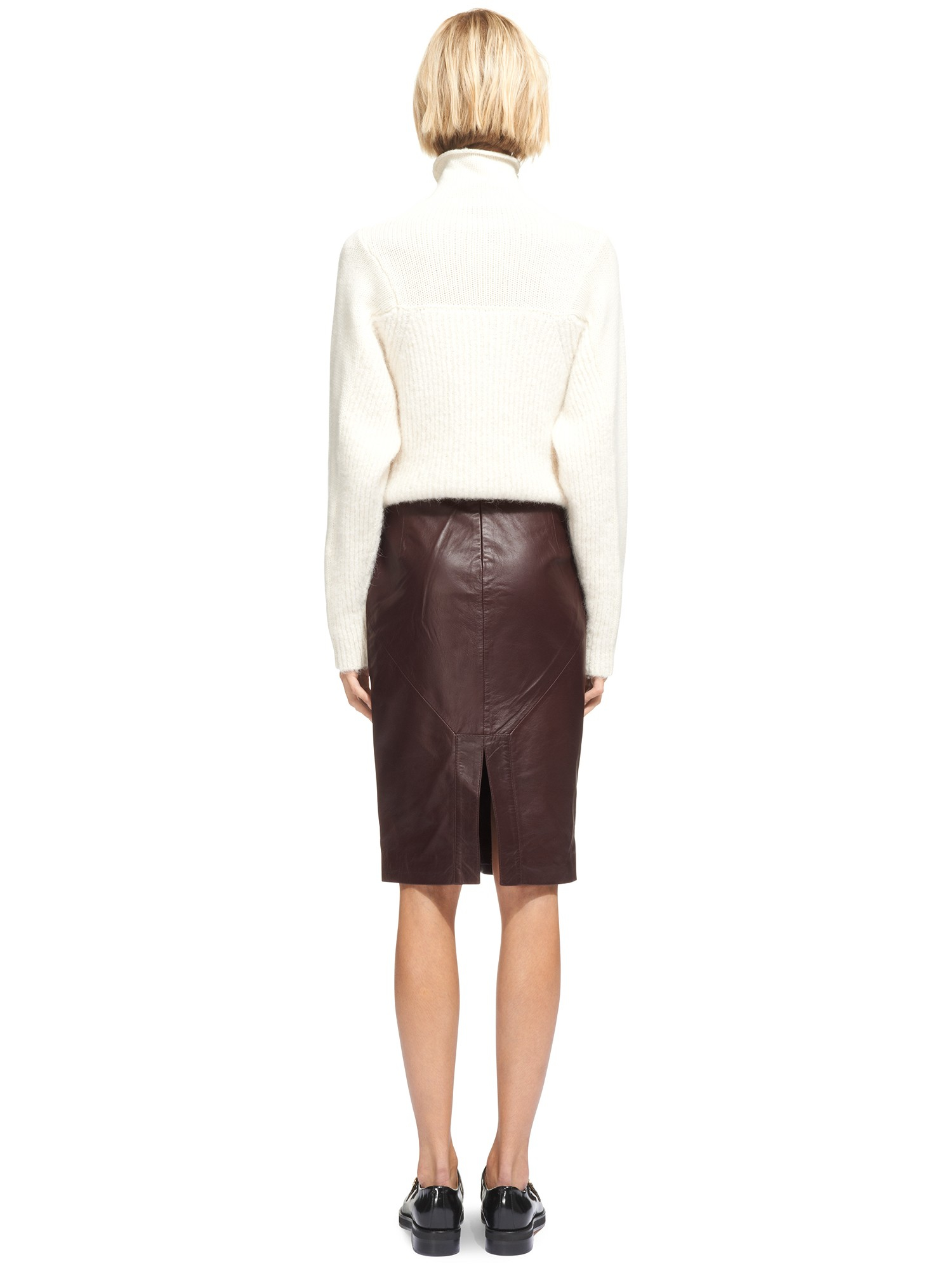 3b817a4cf4 Whistles Kel Leather Pencil Skirt in Brown - Lyst