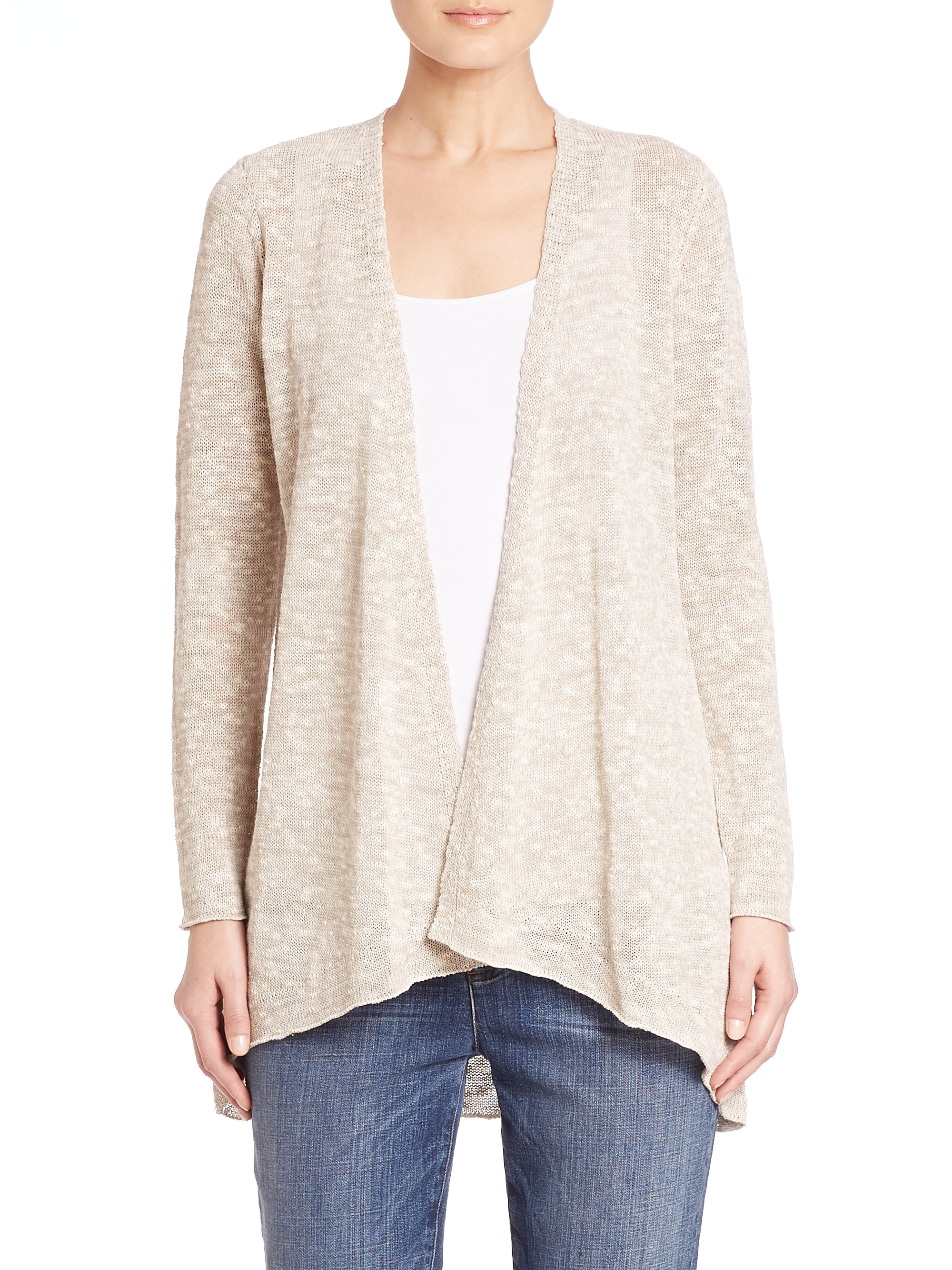 4f4d635e04 Lyst - Eileen Fisher Angled Open-front Cardigan in Natural