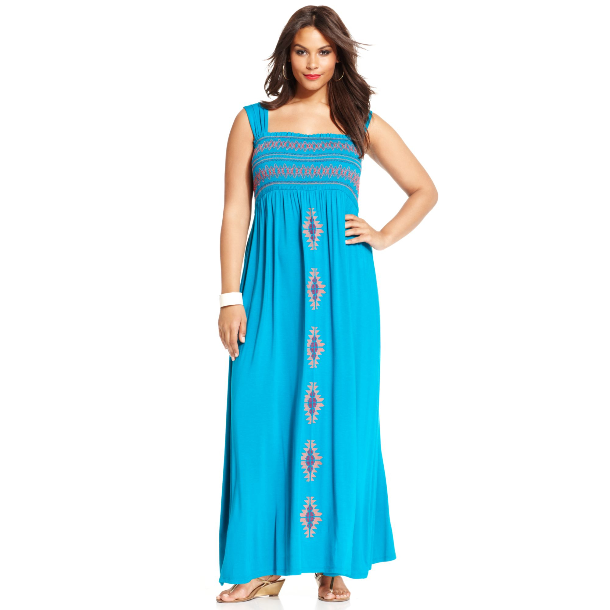 7edcdec2c8f Spense Plus Size Embroidered Smocked Maxi Dress in Blue - Lyst