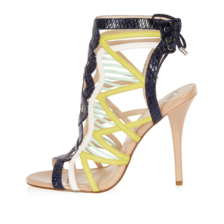 9b72ec8fad2 River Island Yellow Caged Tie Back Heels in Black - Lyst