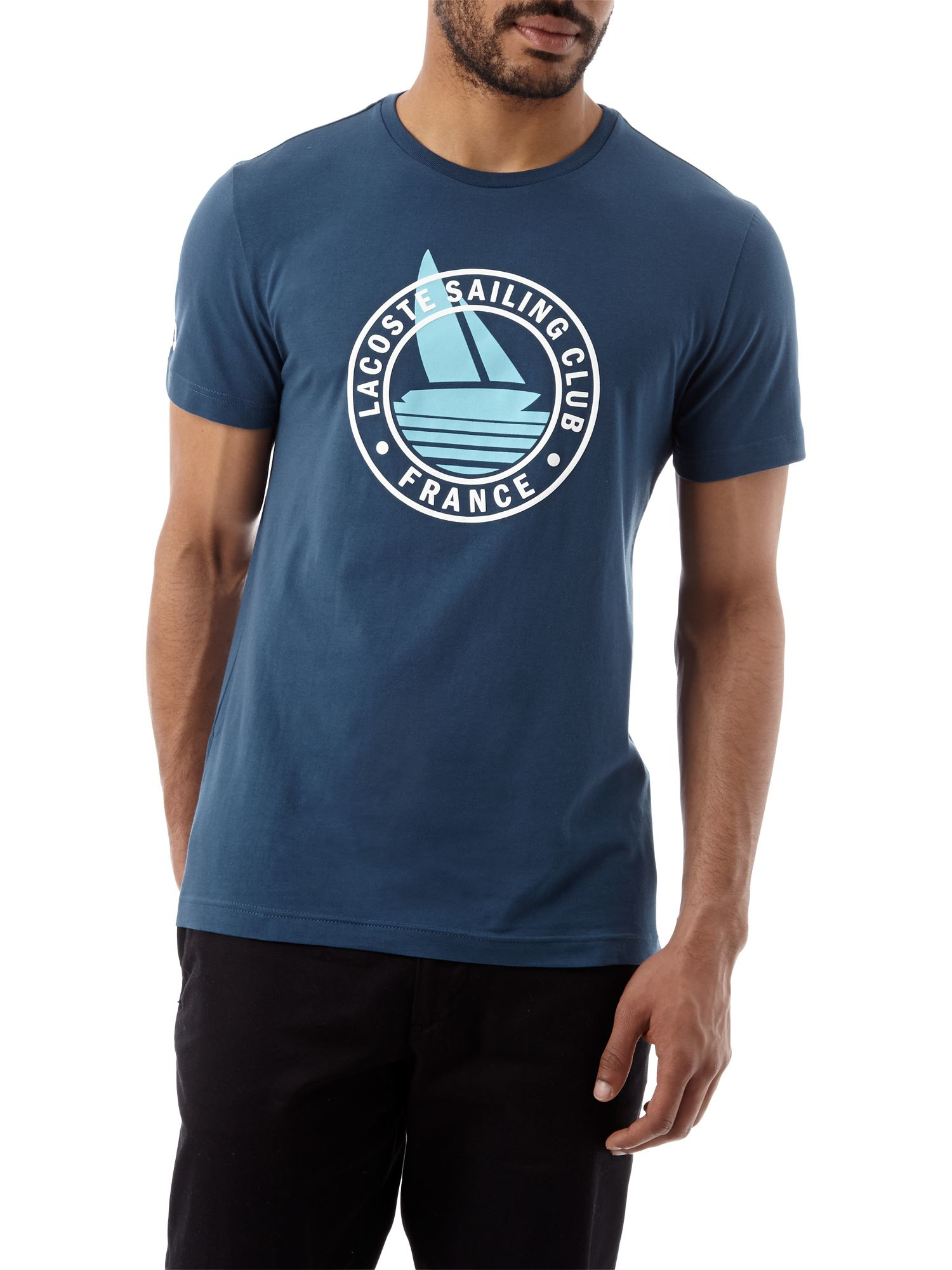 lacoste sailing club graphic regular fit t shirt in white for men. Black Bedroom Furniture Sets. Home Design Ideas