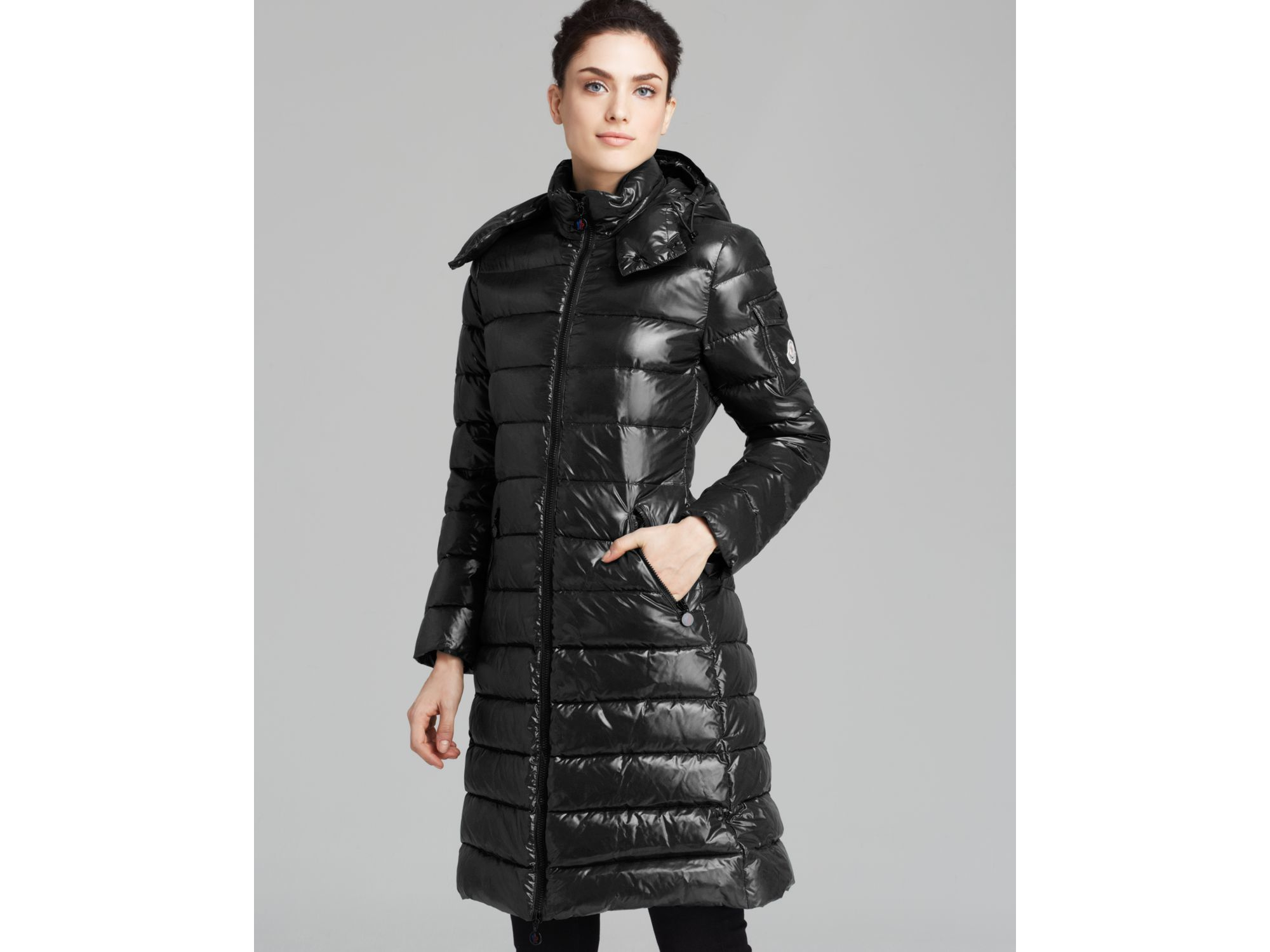 moncler long quilted down coat