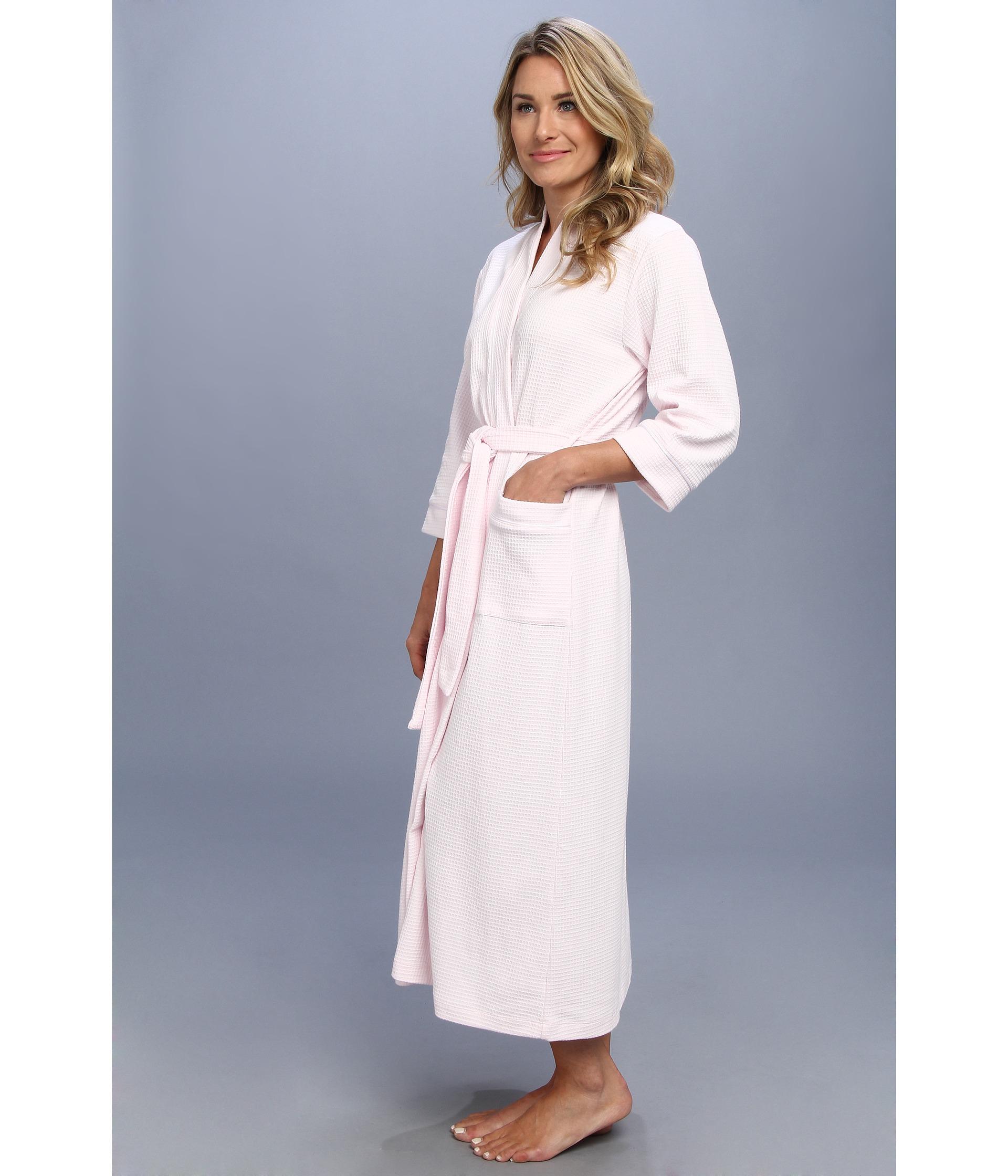 Lyst - Carole Hochman Long Waffle Robe in Pink