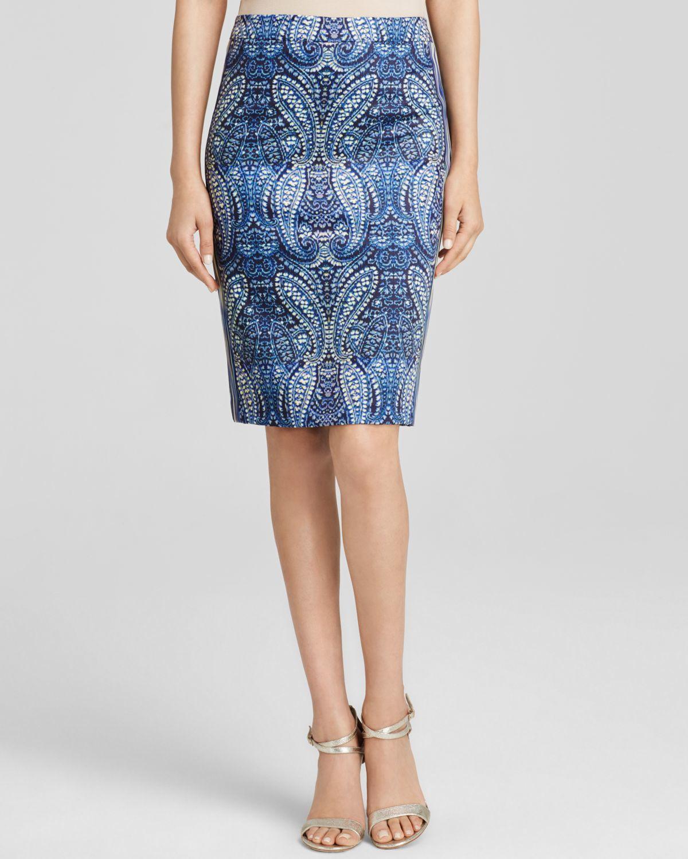 nanette lepore paisley skirt in blue indigo multi