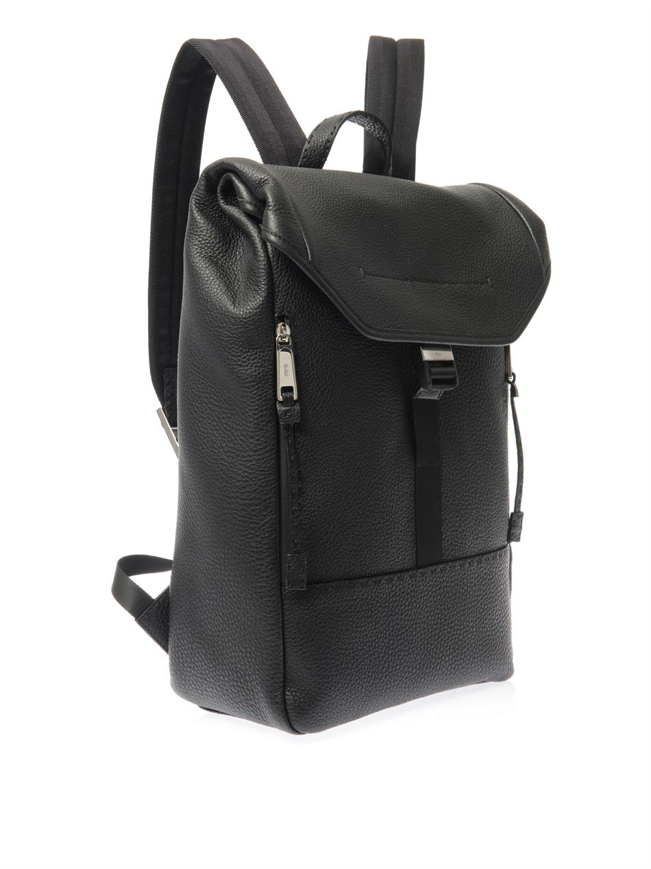 Fendi Selleria Leather Backpack in Black for Men | Lyst