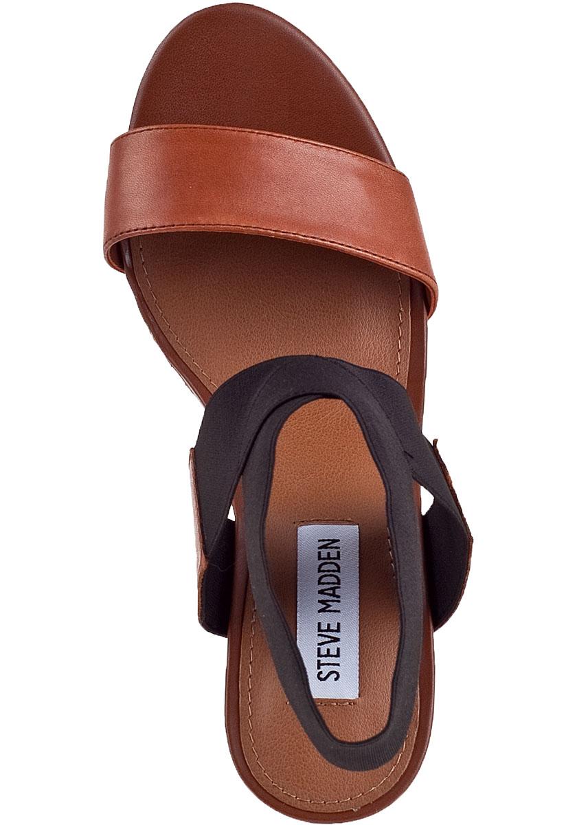 Steve Madden Roperr Wedge Sandal Black Fabric In Brown Lyst