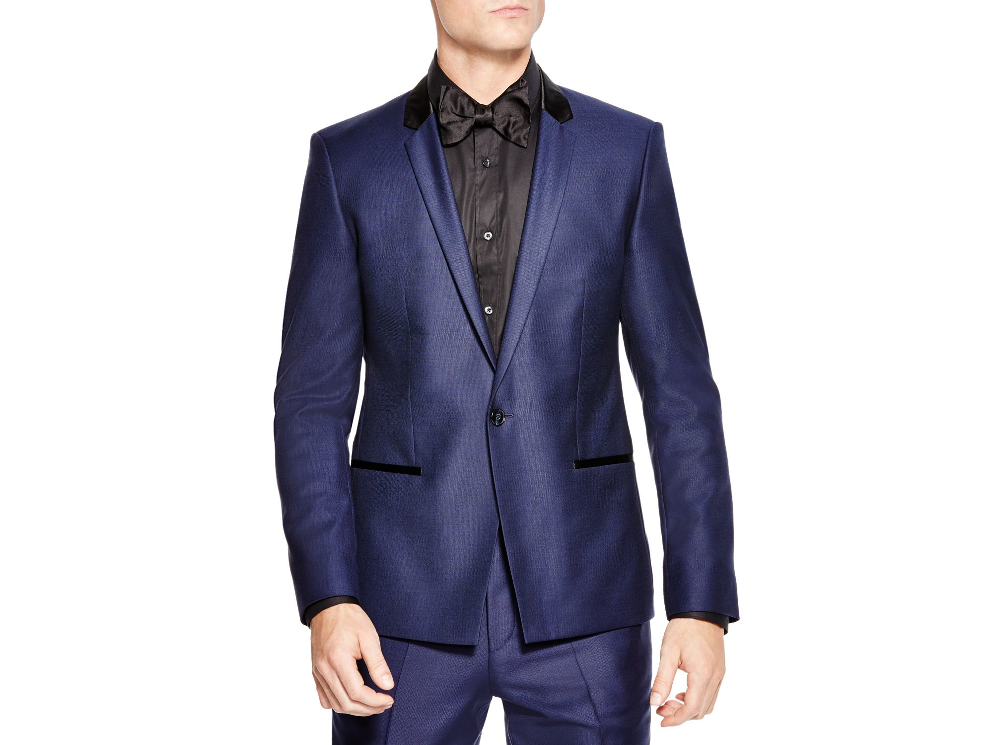 lyst boss hugo textured slim fit tuxedo in blue for men. Black Bedroom Furniture Sets. Home Design Ideas