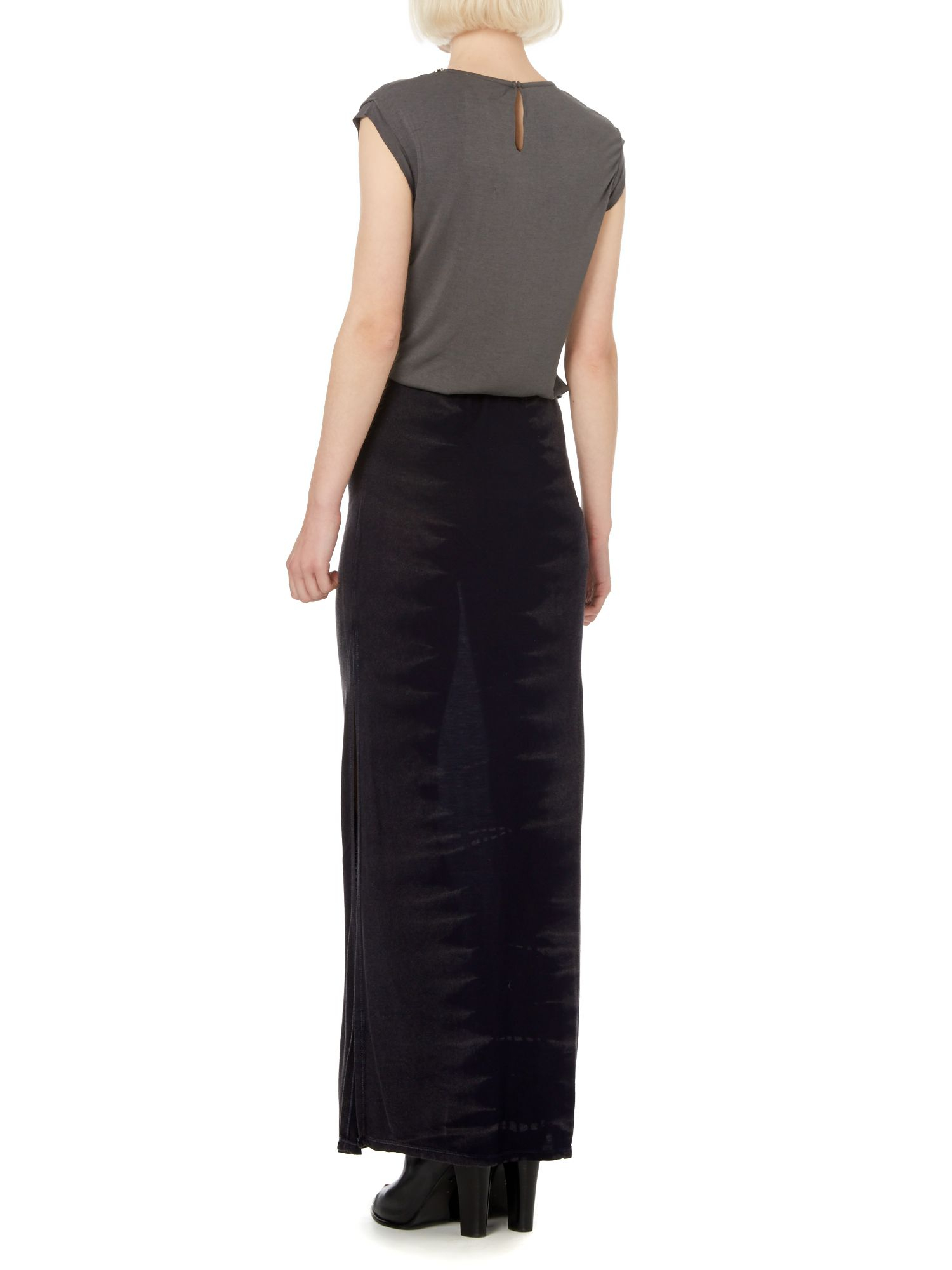 label lab tie dye jersey maxi skirt in gray lyst
