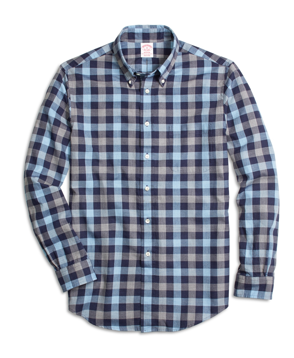 Brooks brothers milano fit blue heathered plaid sport Brooks brothers shirt size guide