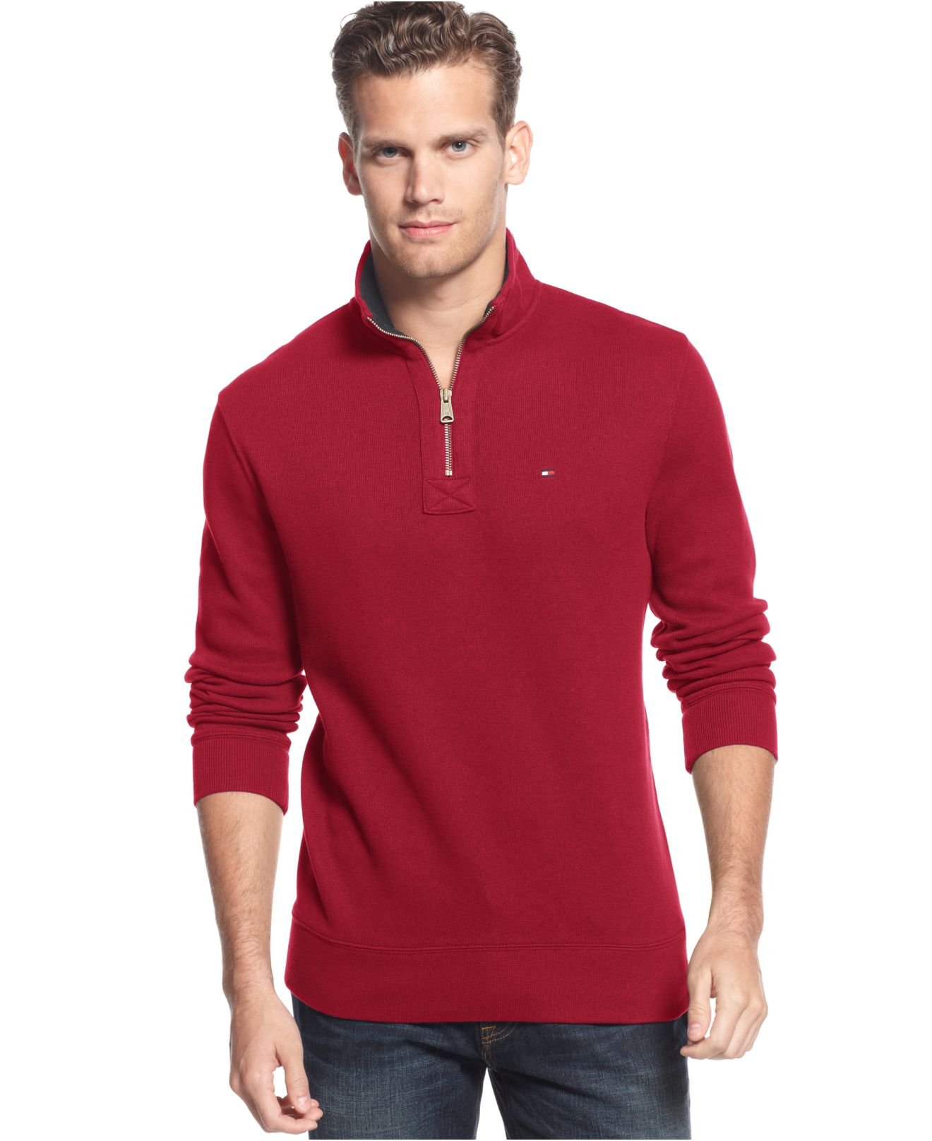Tommy hilfiger Half-Zip Sweater in Red for Men | Lyst
