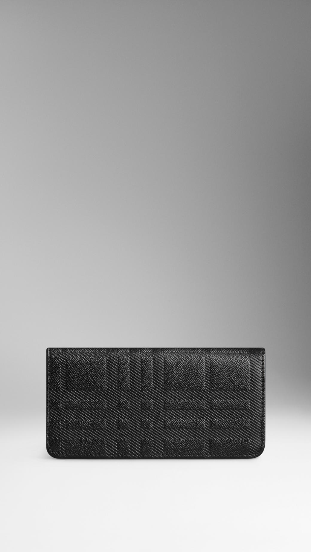 embossed leather continental wallet - Black Burberry ZdzGq0