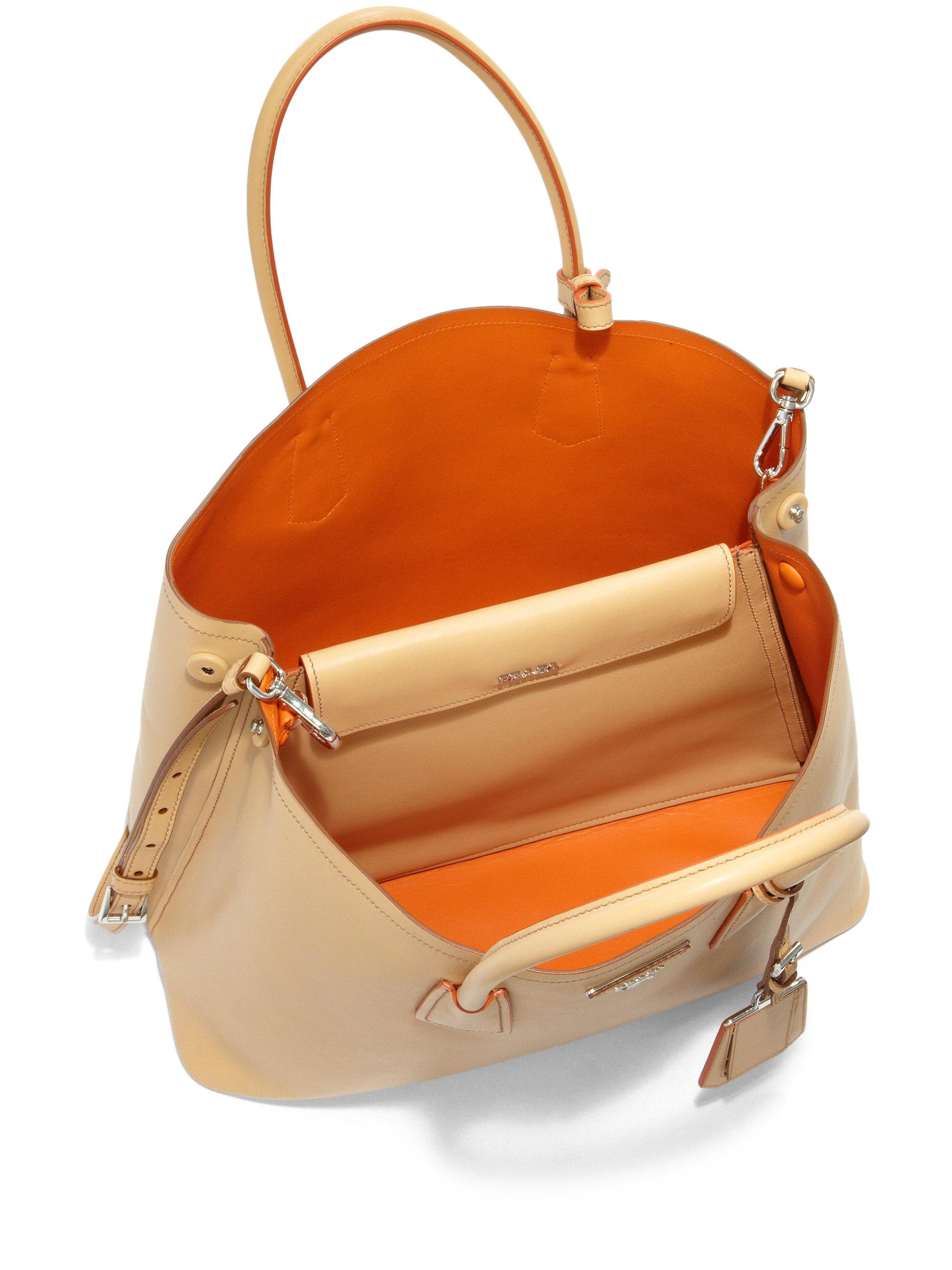 Lyst - Prada City Calf Medium Double Bag in Natural 43460ec32b